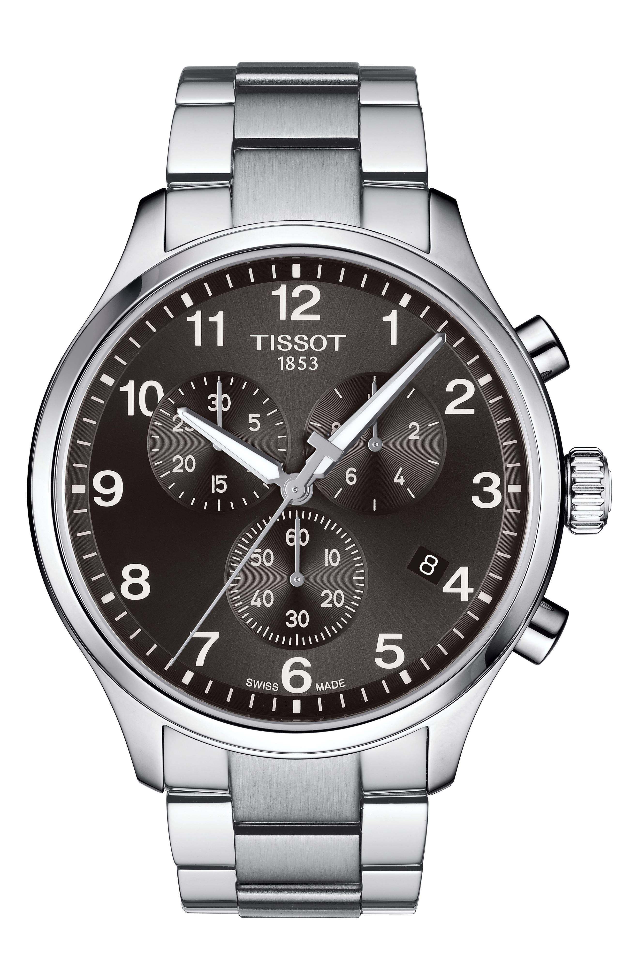 Chrono XL Collection Chronograph Bracelet Watch, 45mm,                             Main thumbnail 1, color,                             SILVER/ BLACK/ SILVER