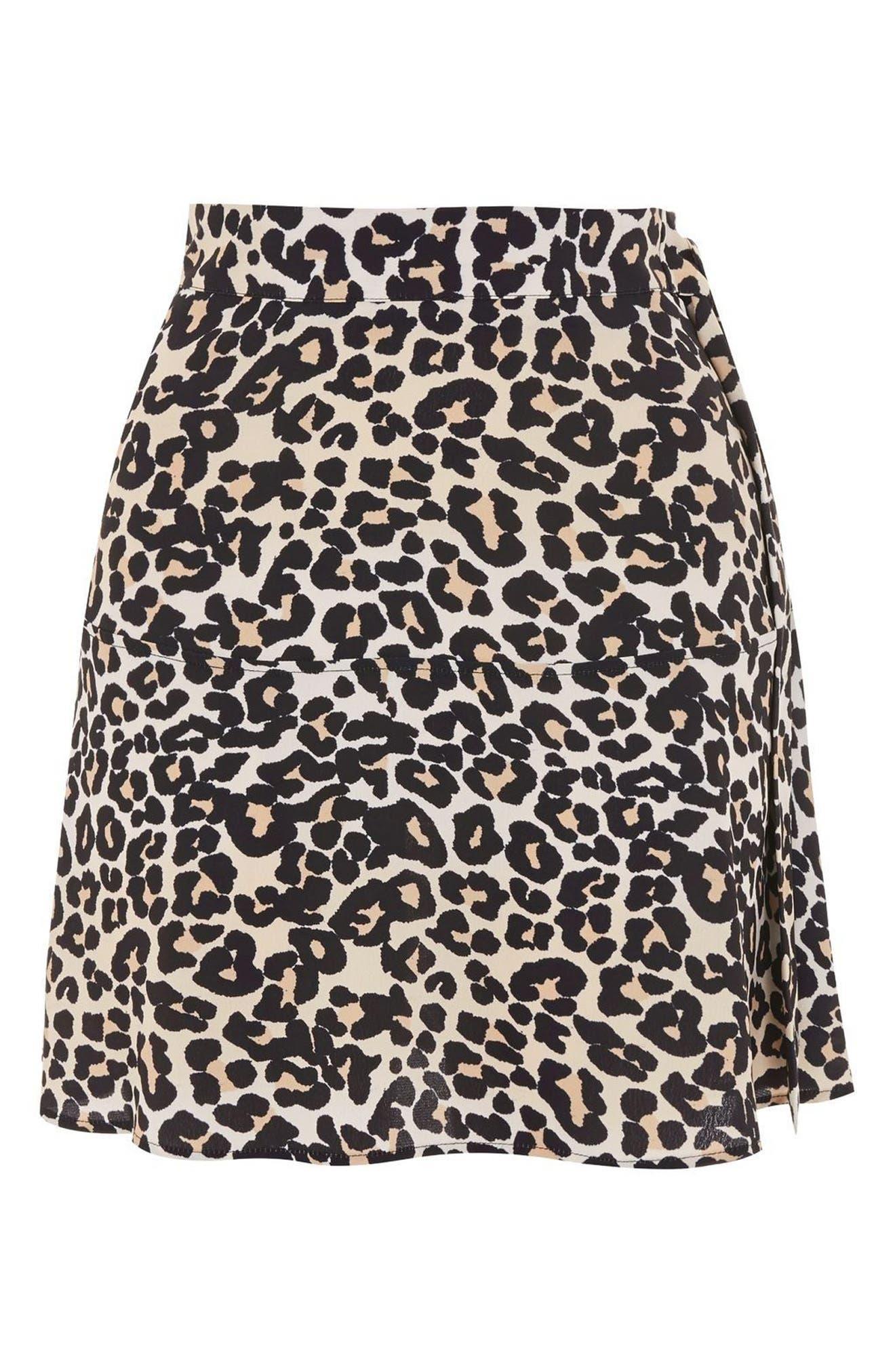 Leopard Print Miniskirt,                             Alternate thumbnail 4, color,                             211