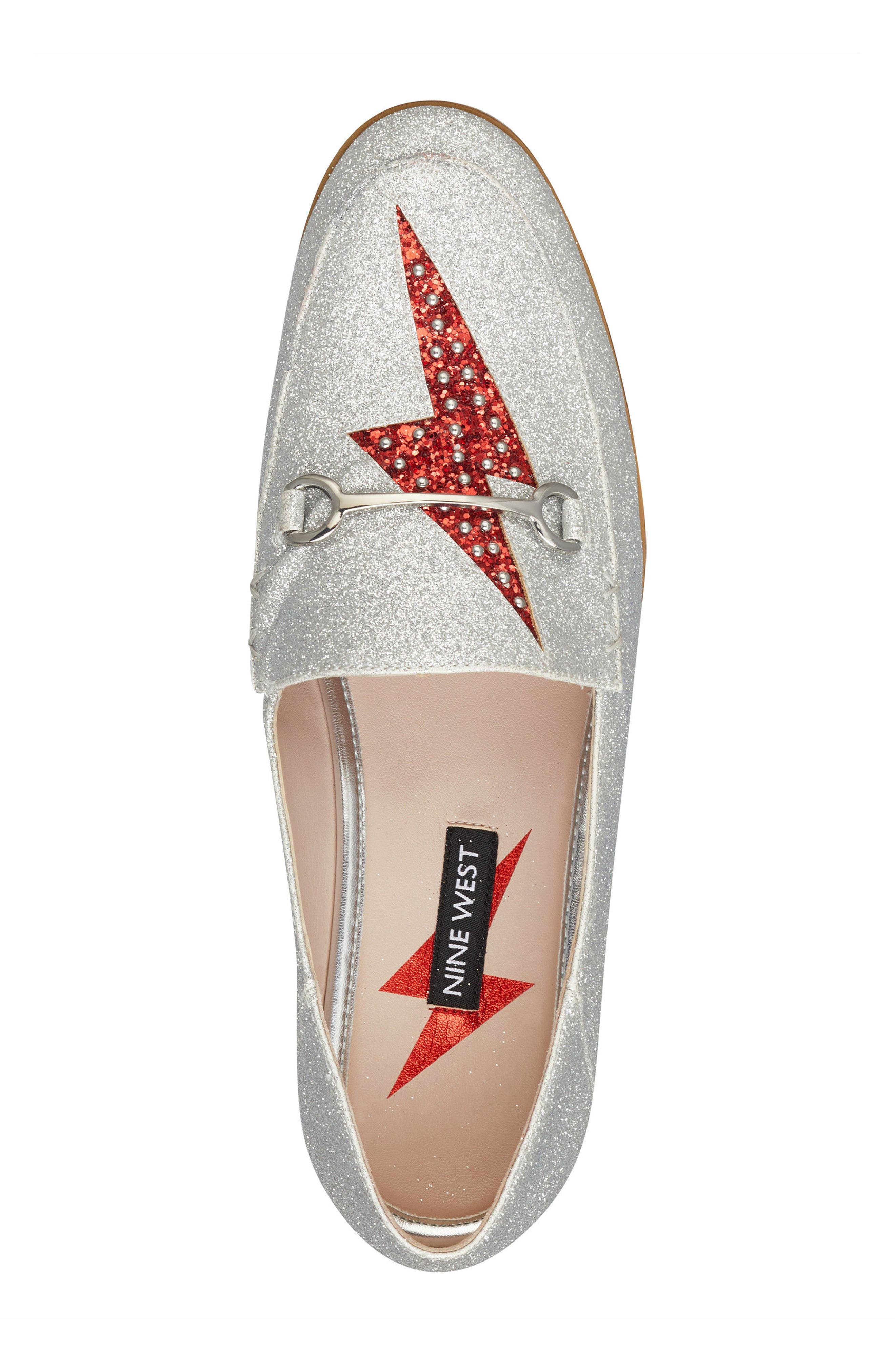 Wildgirls Embellished Loafer,                             Alternate thumbnail 5, color,                             SILVER/ RED FABRIC