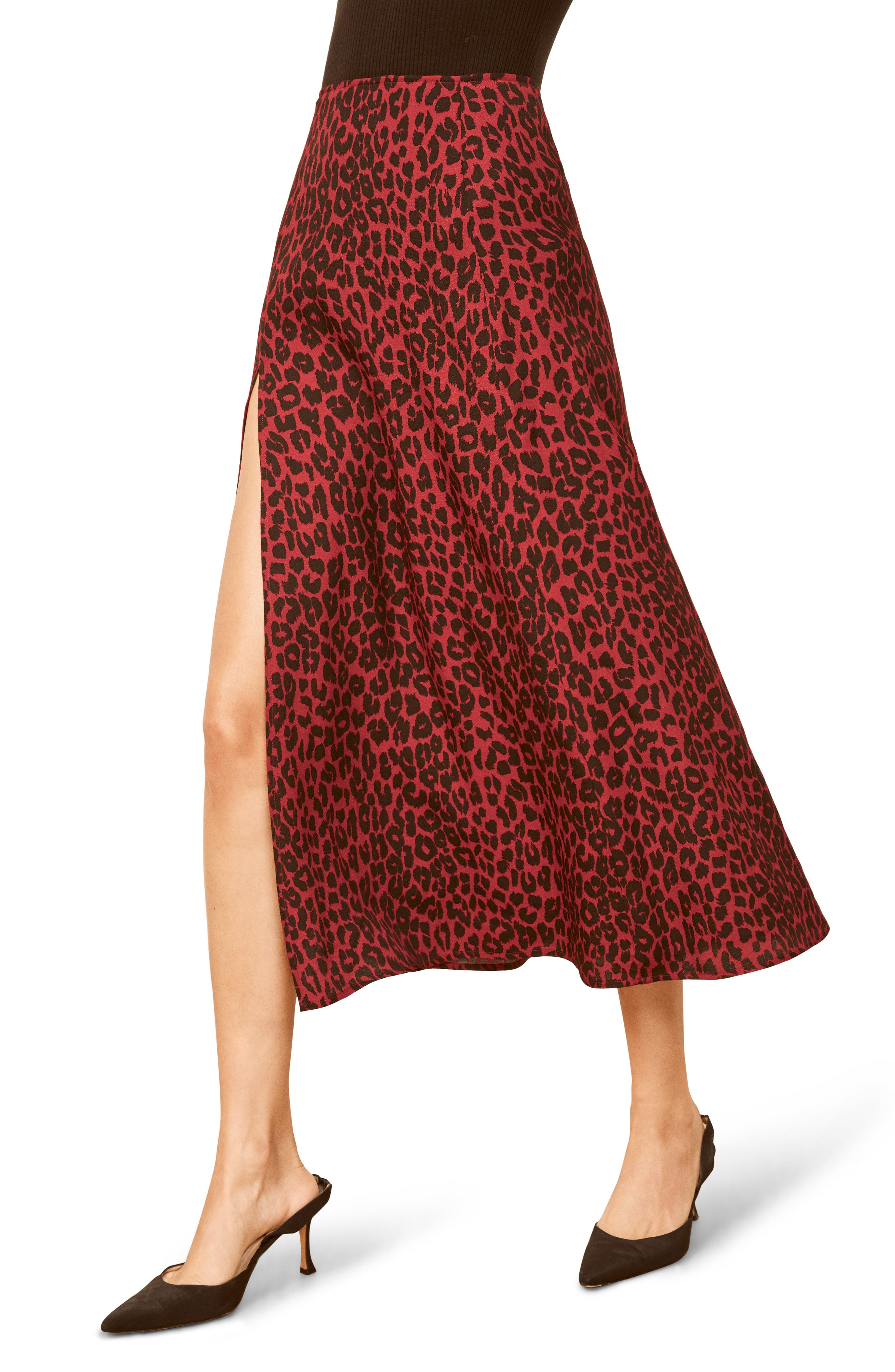 Zoe Side Slit Midi Skirt,                         Main,                         color, WILDCAT