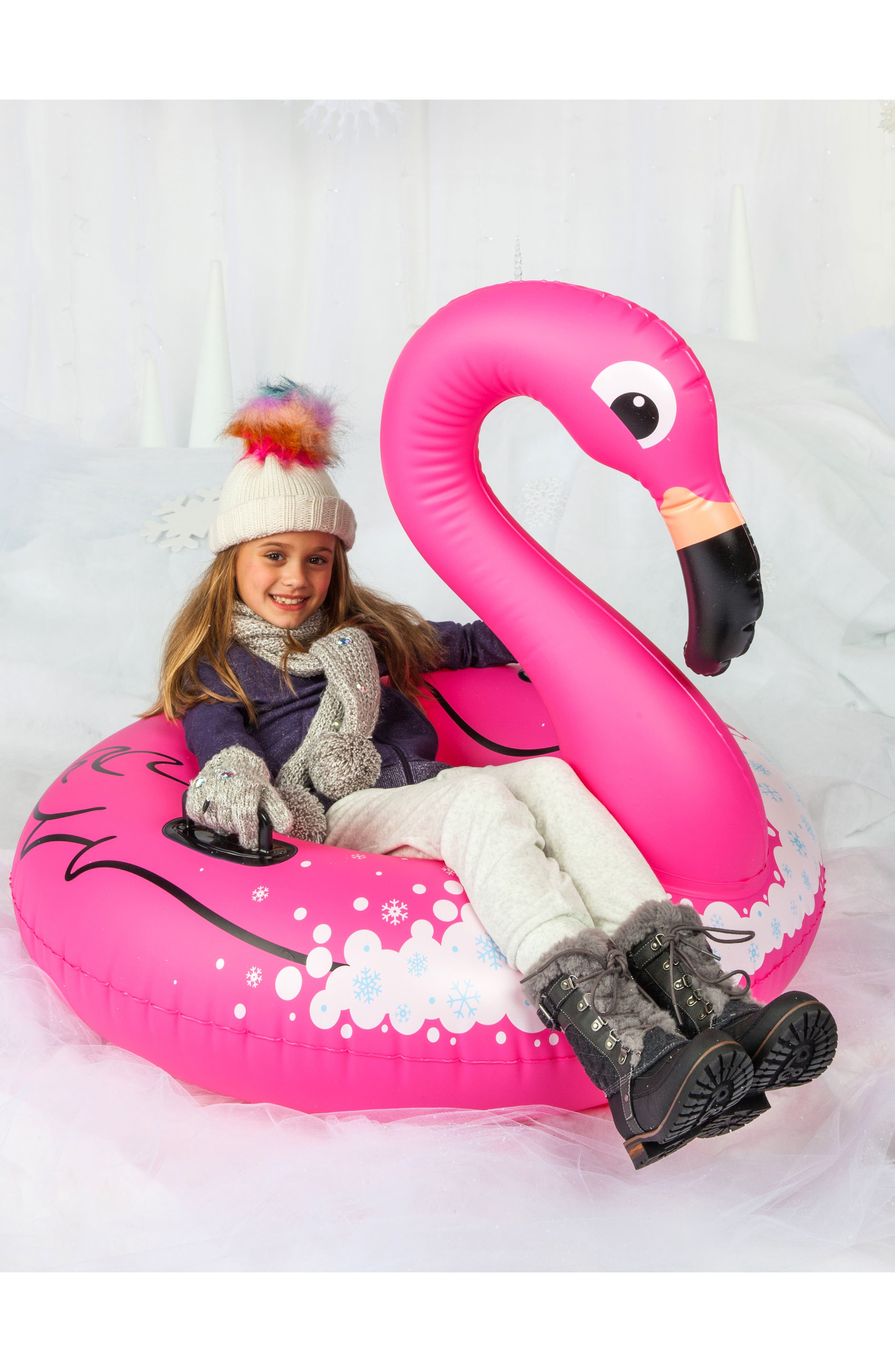 Winter Flamingo Inflatable Snow Tube,                             Alternate thumbnail 4, color,                             670
