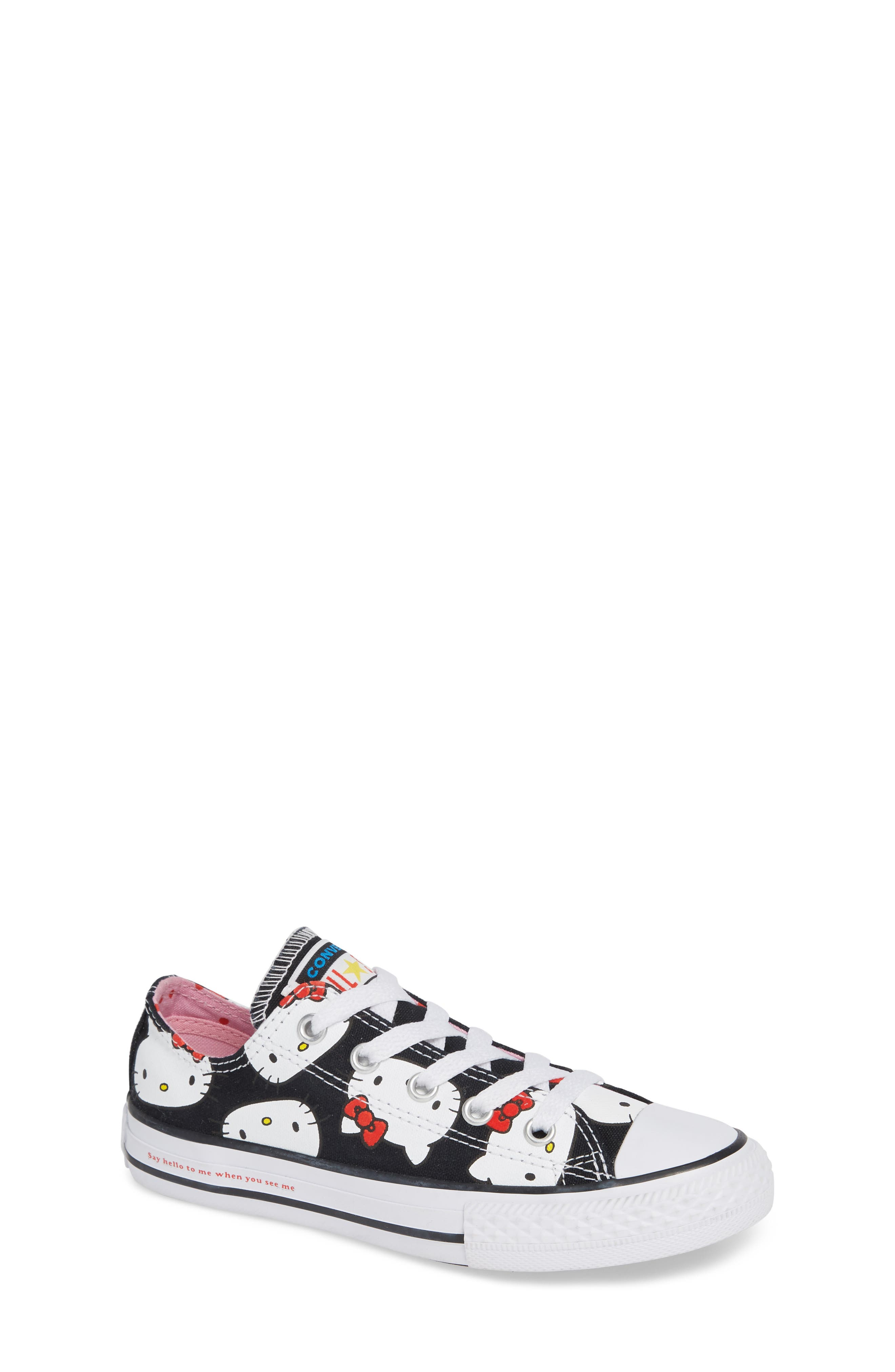 CONVERSE Chuck Taylor<sup>®</sup> All Star<sup>®</sup> Hello Kitty<sup>®</sup> Sneaker, Main, color, 001