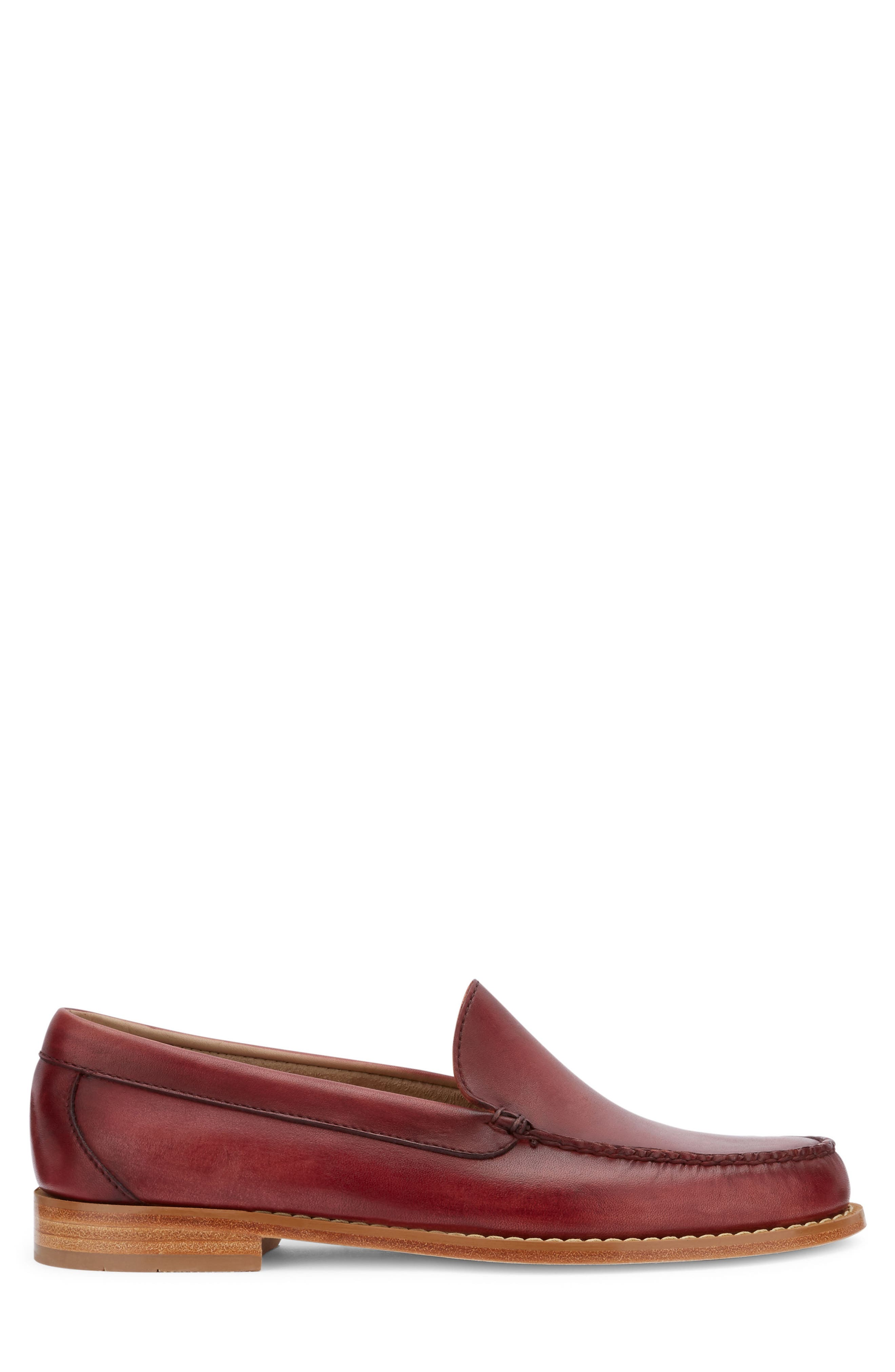 Moc Toe Loafer,                             Alternate thumbnail 3, color,                             RED LEATHER