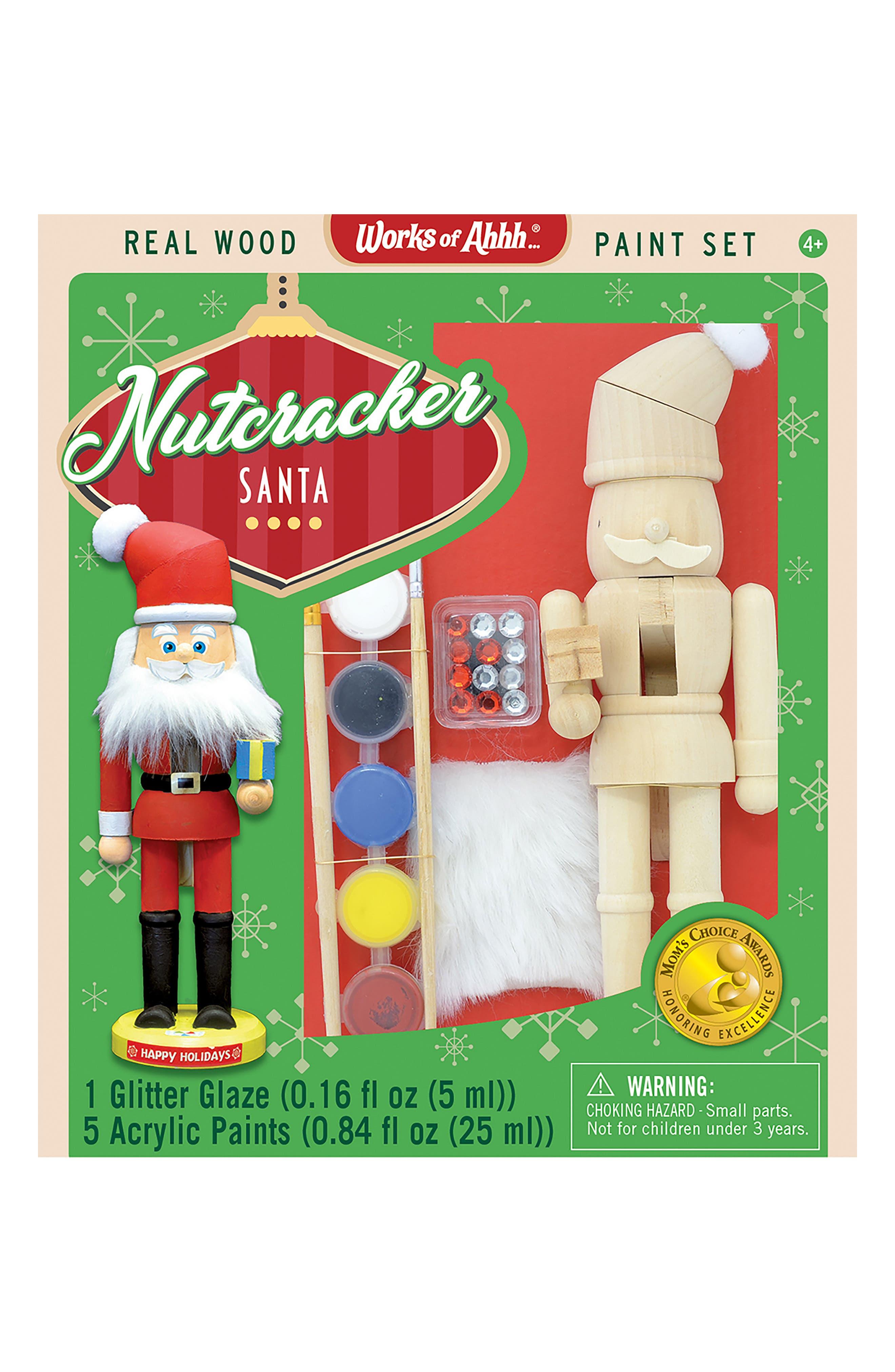 Nutcracker Santa Wood Craft & Paint Kit,                             Main thumbnail 1, color,                             960