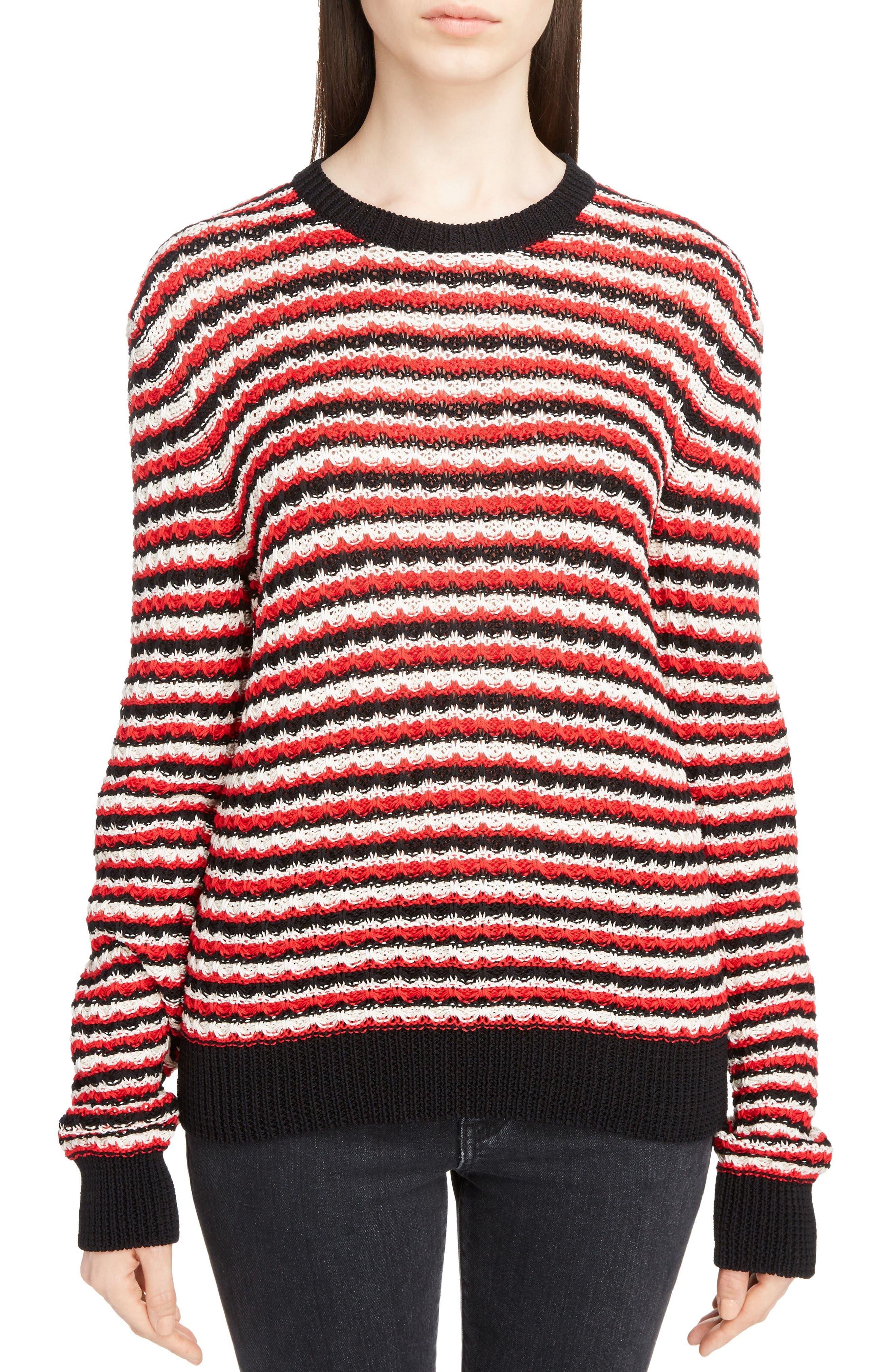 Crochet Stripe Sweater,                             Main thumbnail 1, color,                             600