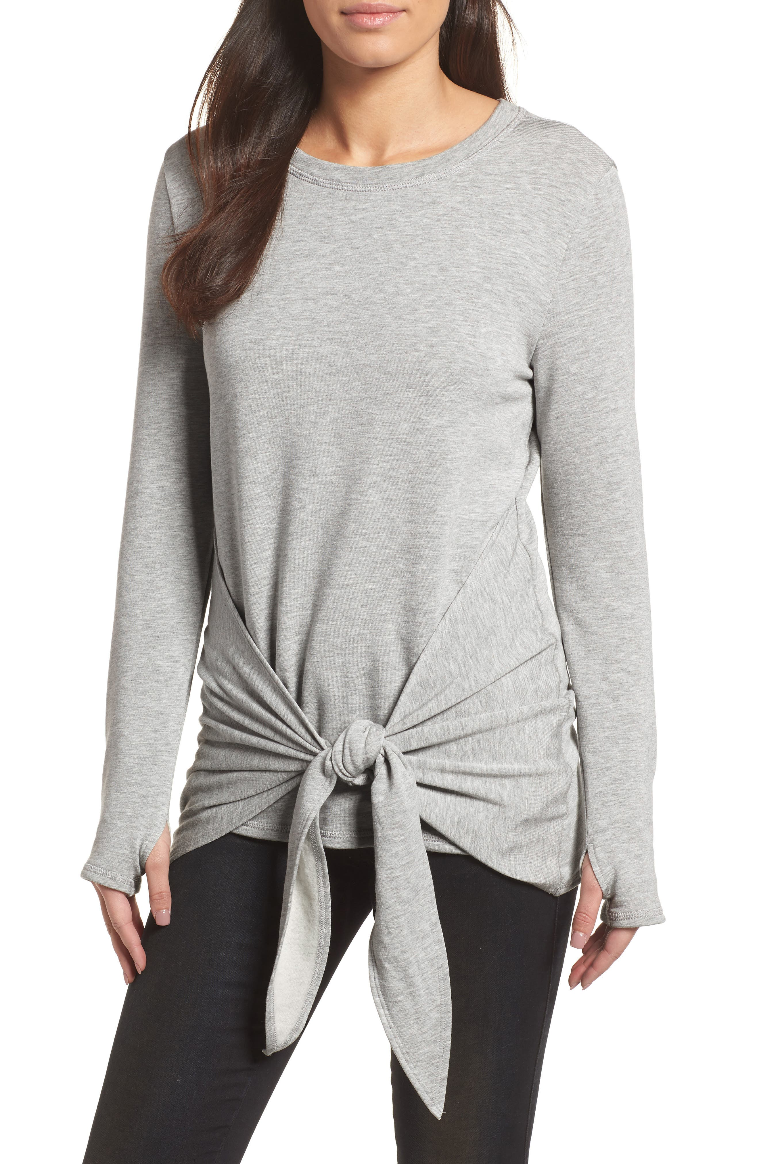 Off-Duty Tie Front Sweatshirt,                             Main thumbnail 2, color,