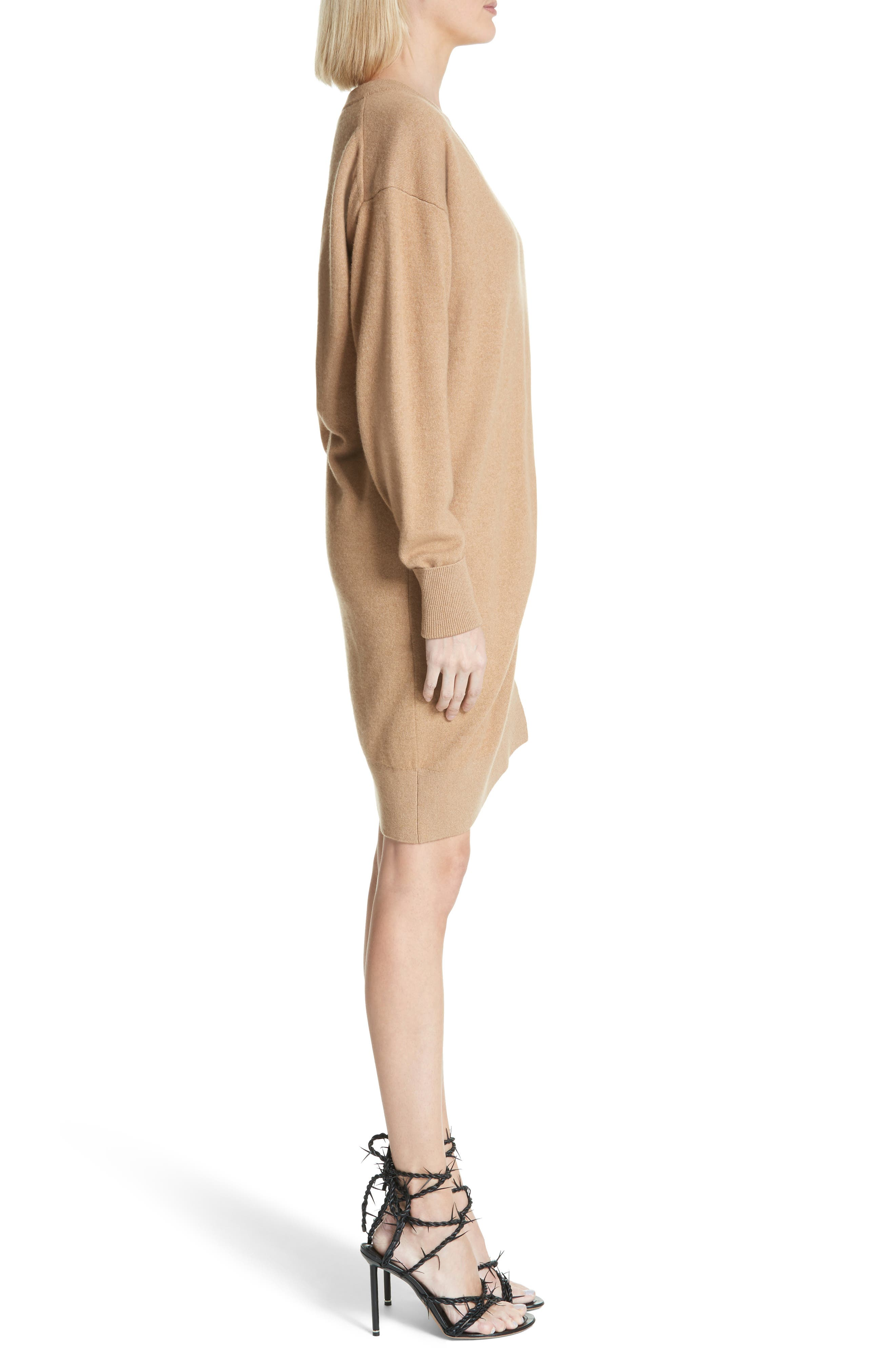 Asymmetrical Wool & Cashmere Blend Sweater Dress,                             Alternate thumbnail 3, color,                             204