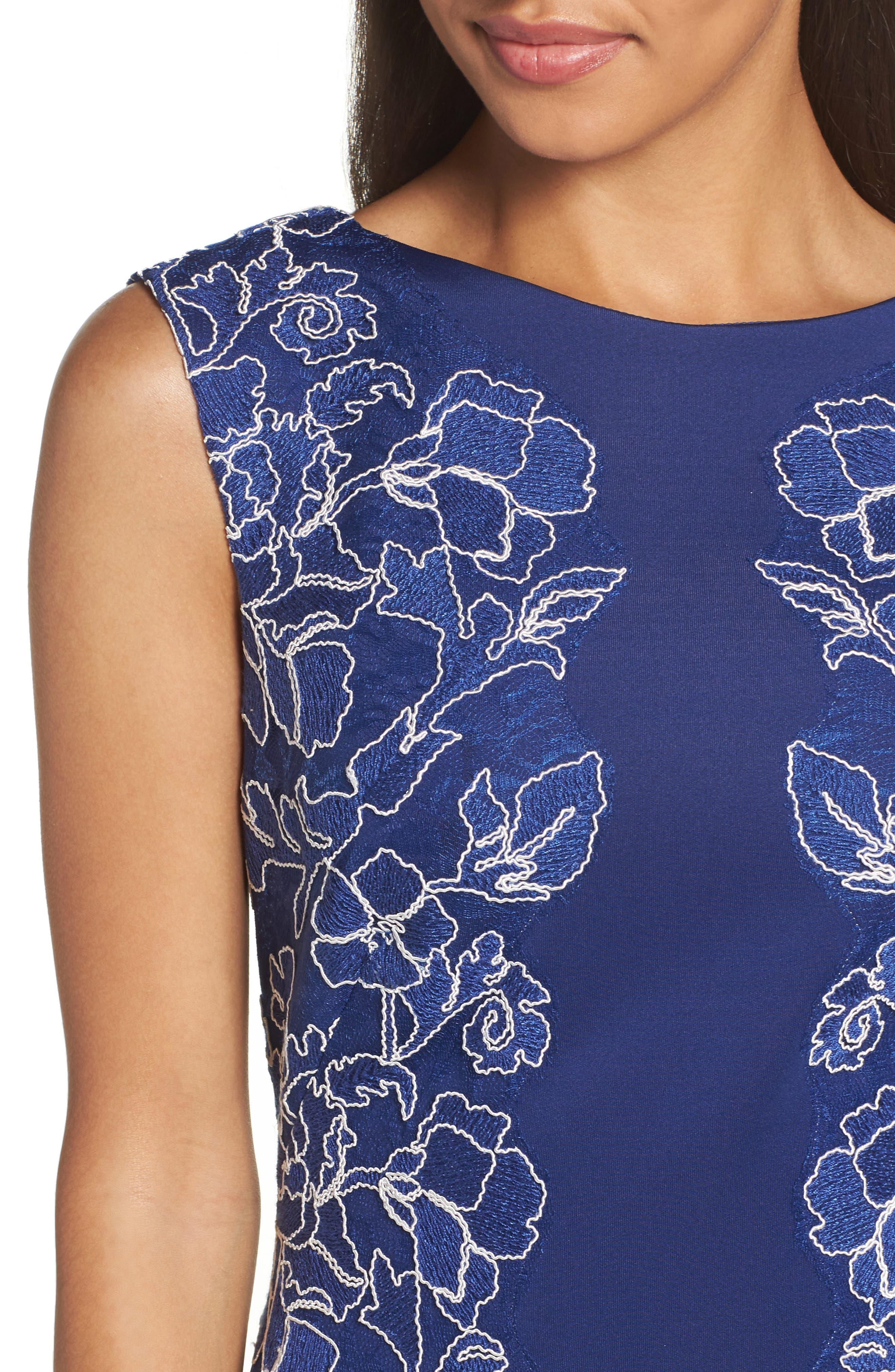 Embroidered Neoprene Sheath Dress,                             Alternate thumbnail 15, color,