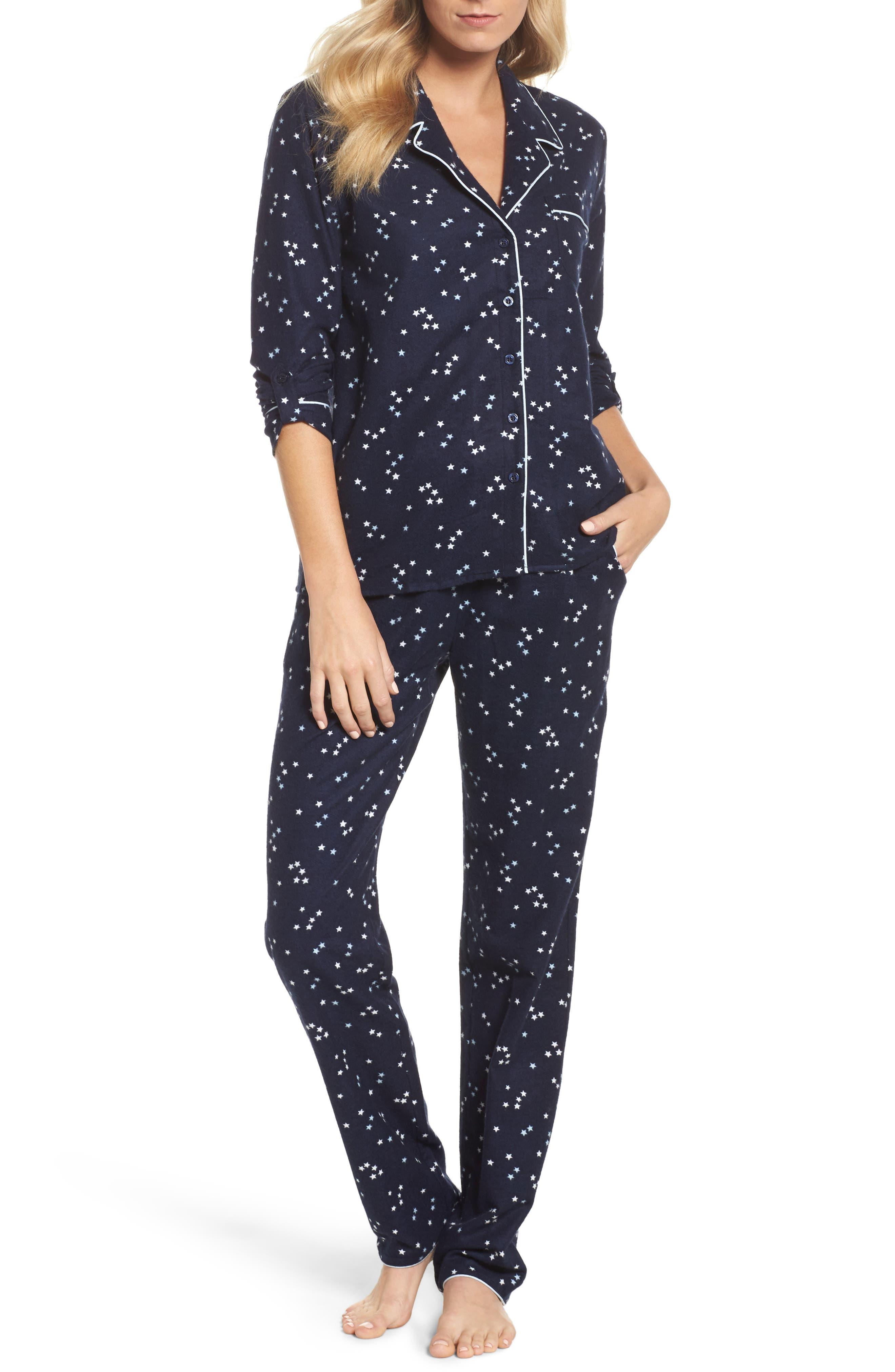 Lingerie Starlight Flannel Pajamas,                             Main thumbnail 3, color,