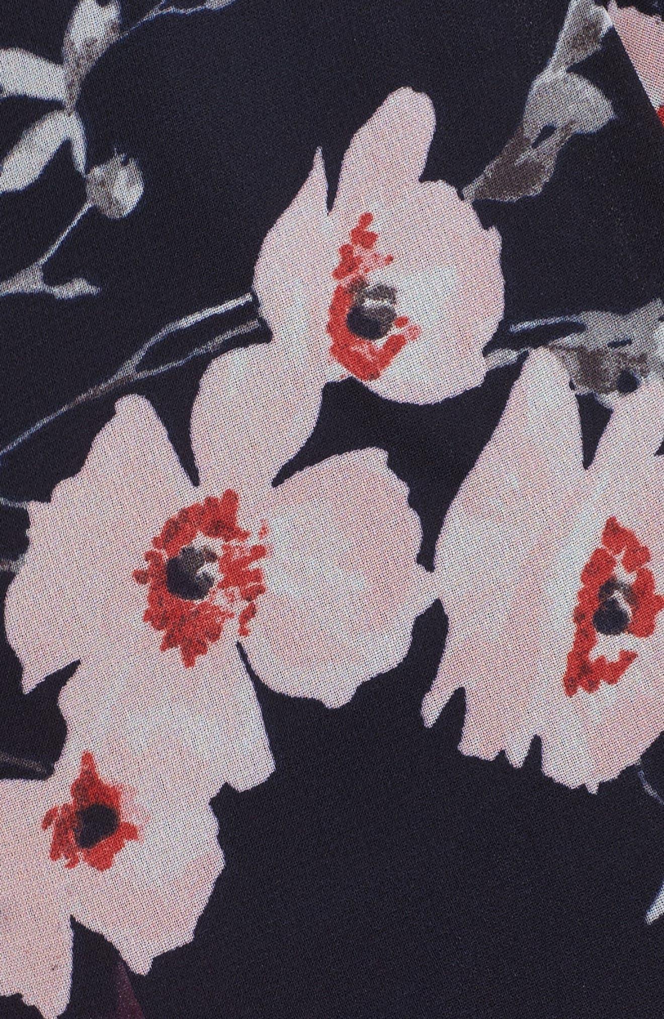 High/Low Floral Faux Wrap Dress,                             Alternate thumbnail 5, color,                             NAVY/ PINK