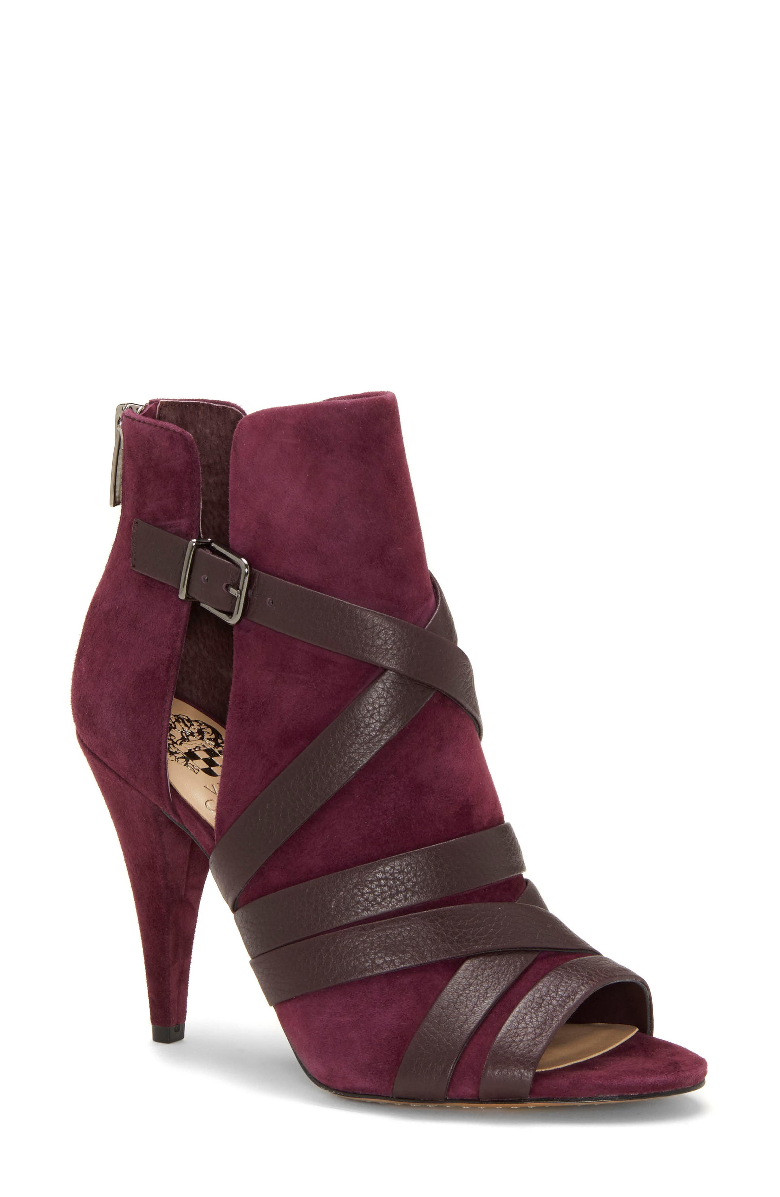 Vince Camuto Achika Belted Peep Toe Bootie, Purple