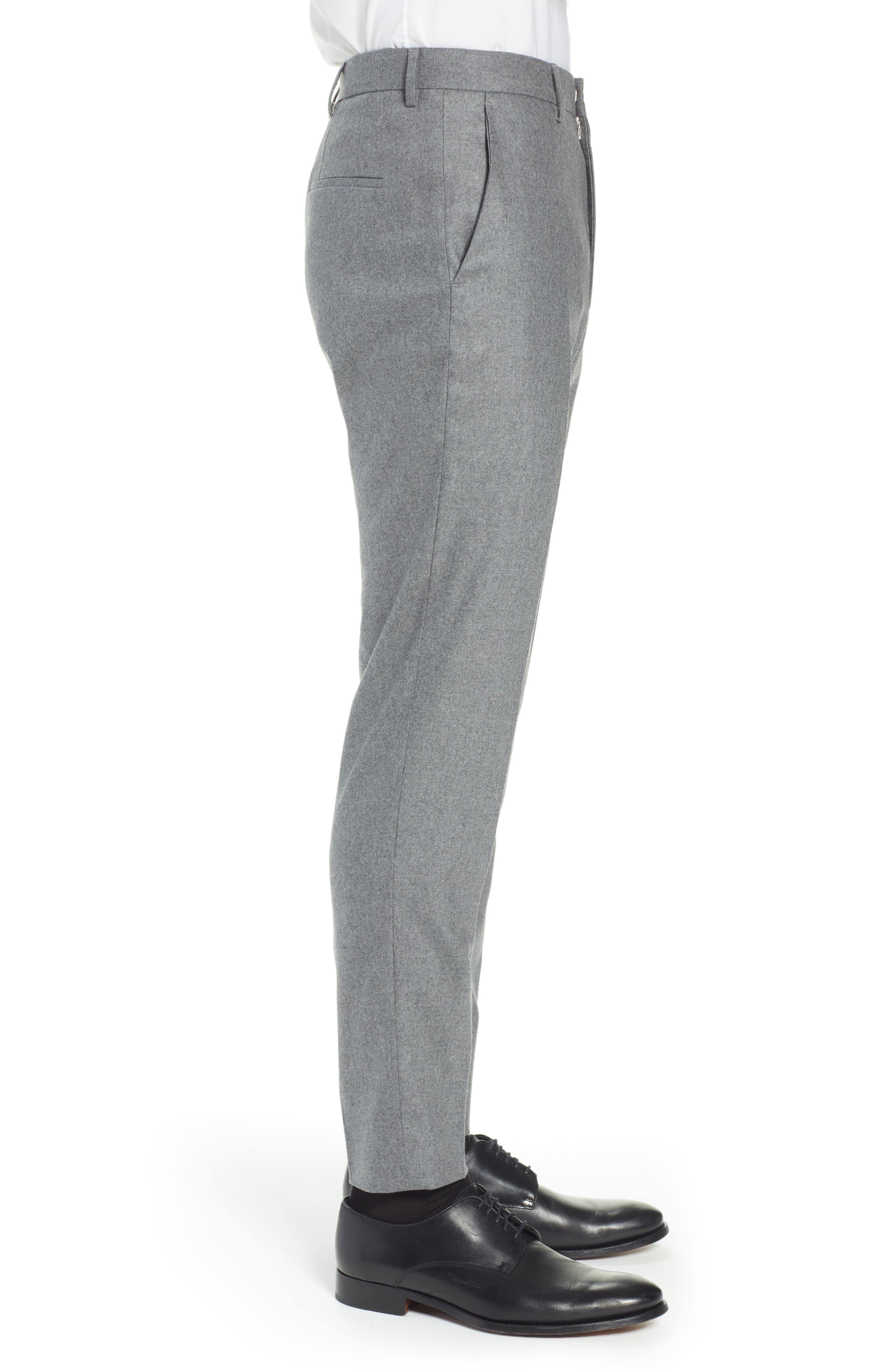 Pirko Flat Front Solid Stretch Wool Trousers,                             Alternate thumbnail 3, color,                             MEDIUM GREY