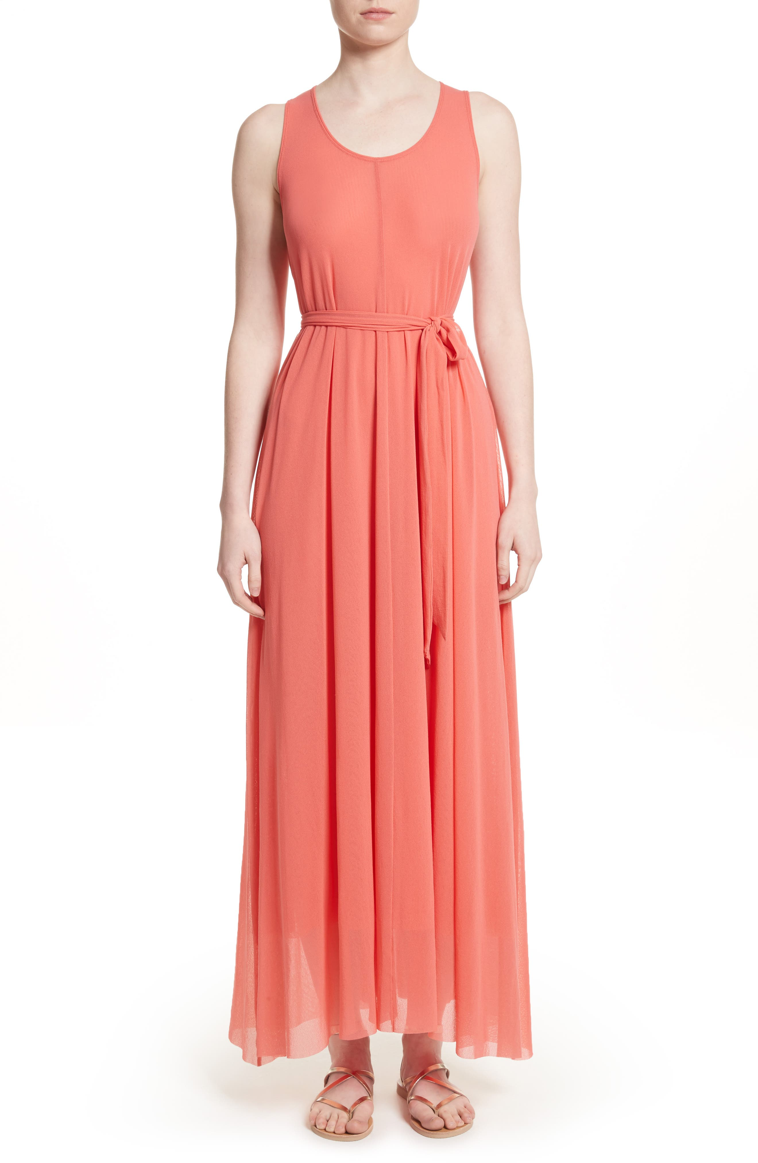 Belted Tulle Maxi Dress,                             Main thumbnail 2, color,