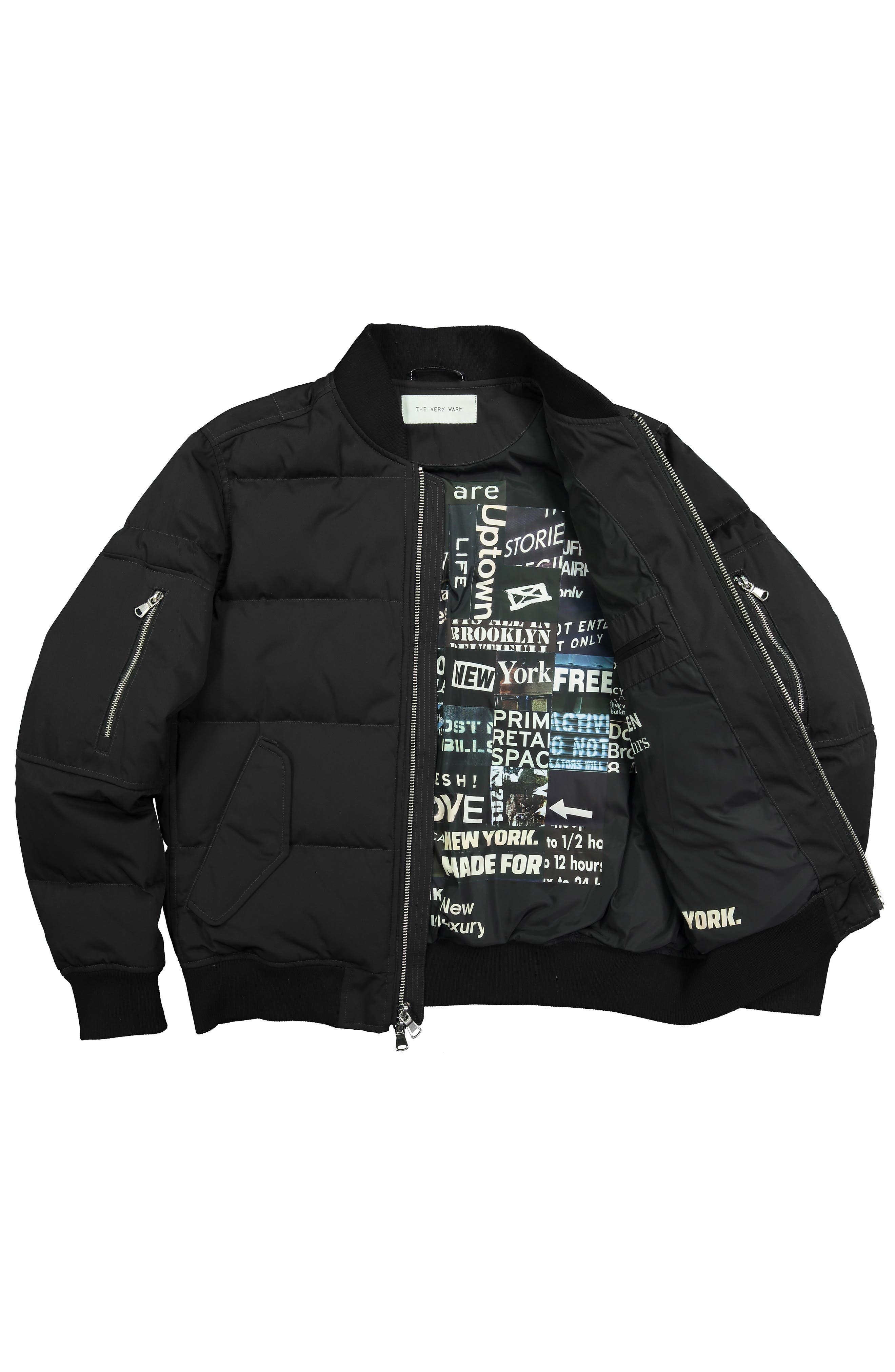 Vandal Down & Feather Fill Quilted Bomber Jacket,                             Alternate thumbnail 7, color,                             BLACK