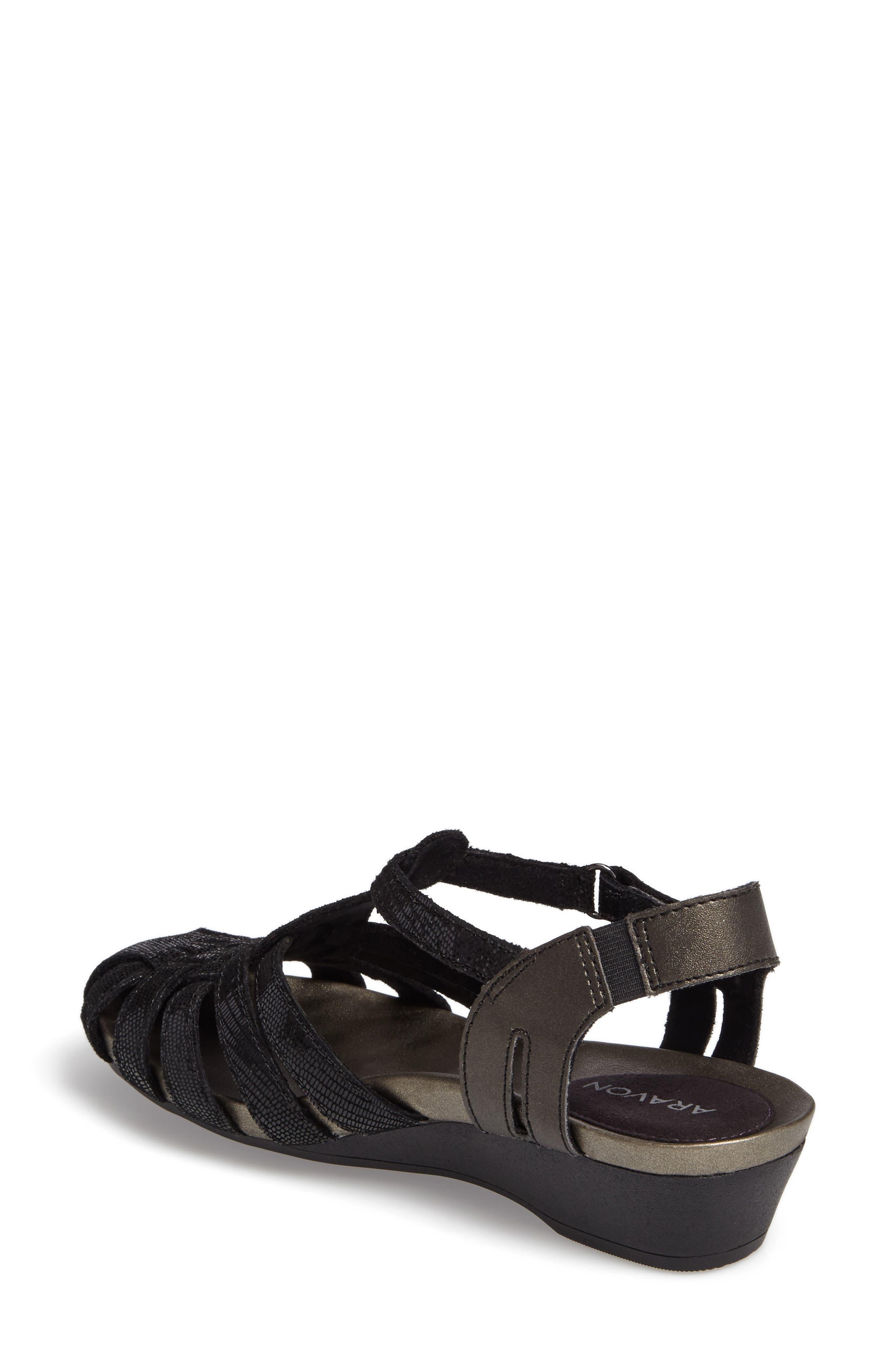 Standon Wedge Sandal,                             Alternate thumbnail 2, color,                             BLACK FABRIC