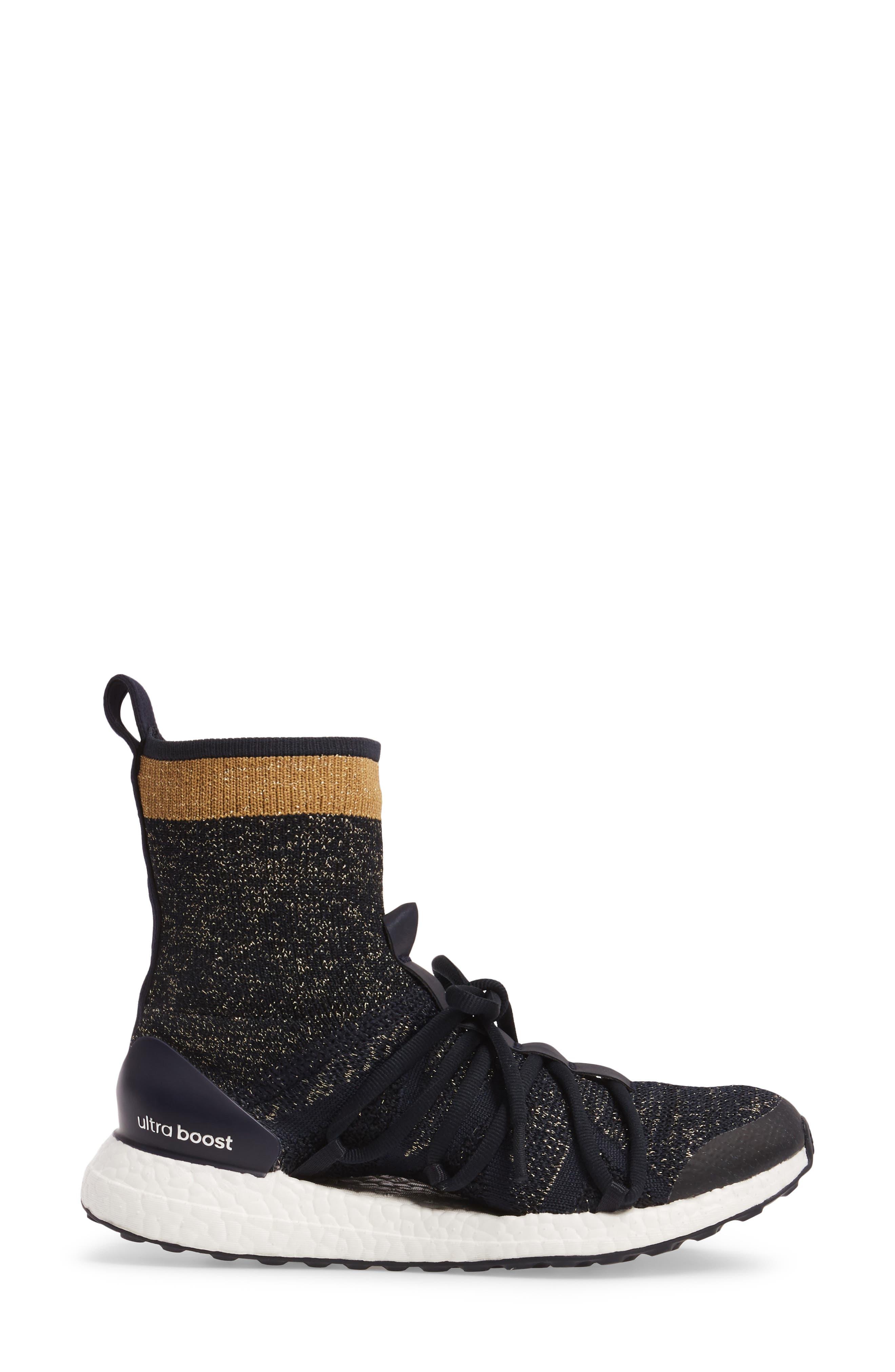by Stella McCartney UltraBoost X Primeknit Mid Sneaker,                             Alternate thumbnail 3, color,                             400
