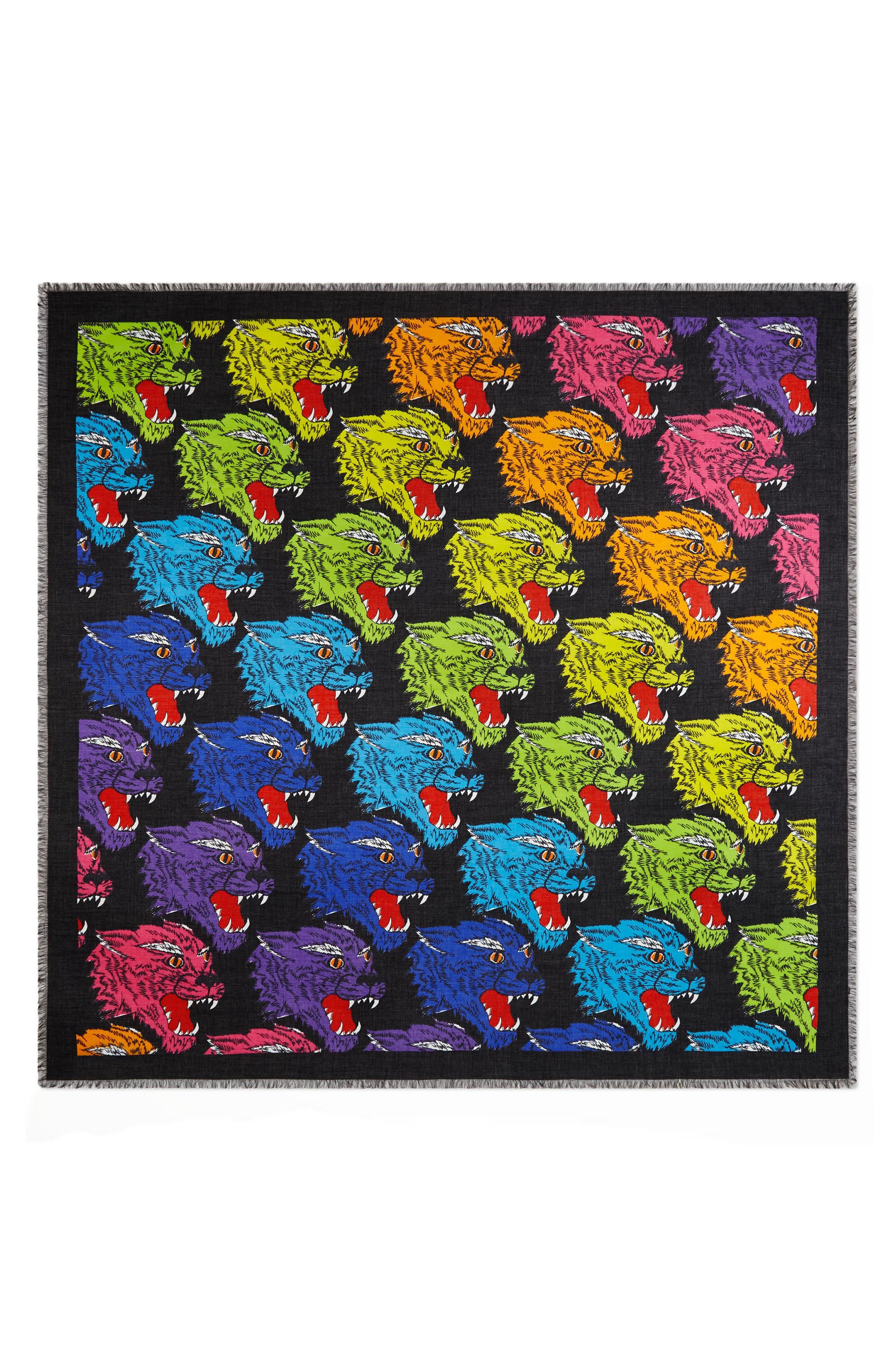 Rainbow Panther Print Modal & Silk Shawl,                             Main thumbnail 1, color,                             BLACK/ MULTICOLOR
