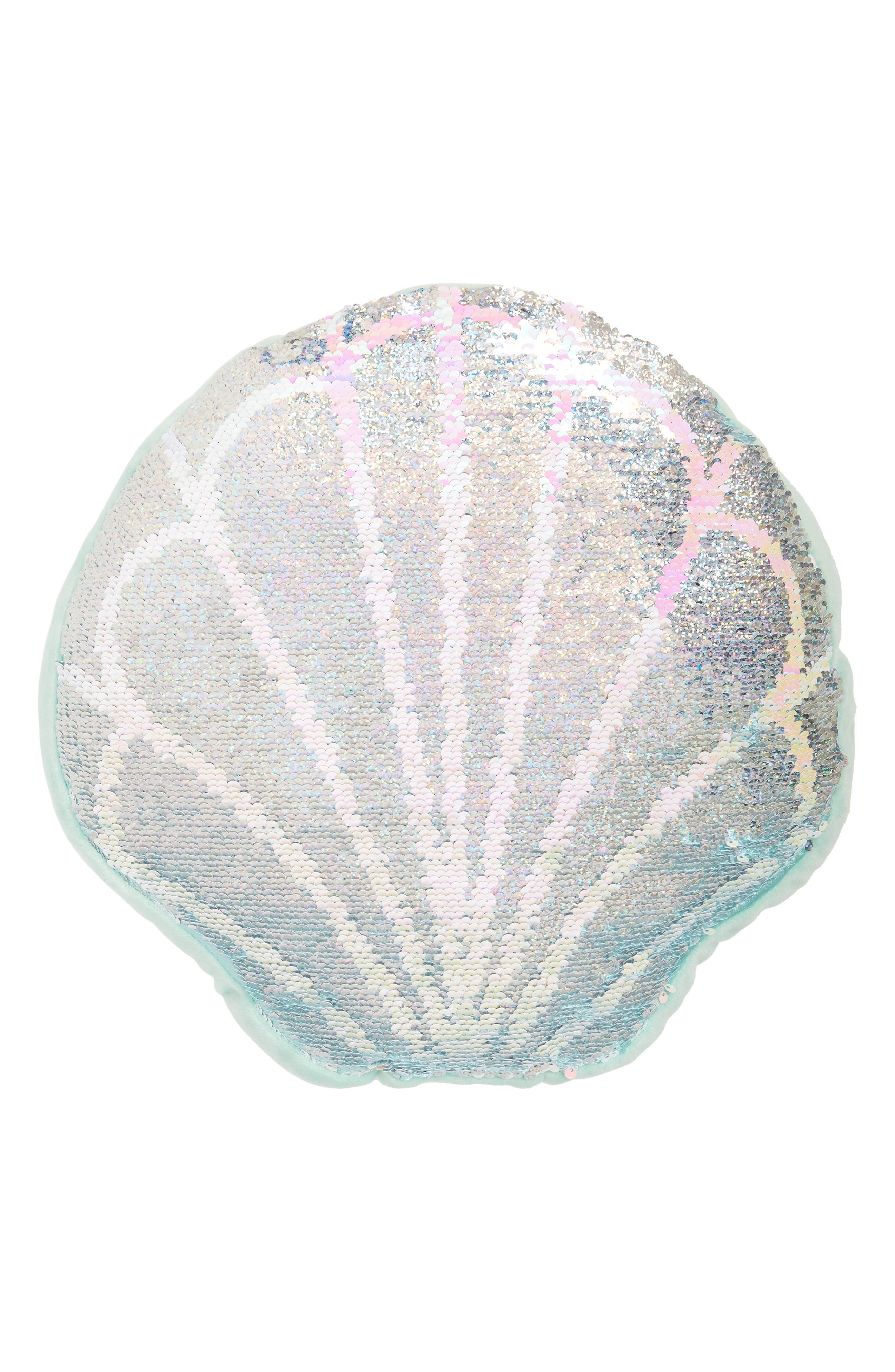 Reversible Sequin Seashell Pillow,                             Alternate thumbnail 4, color,