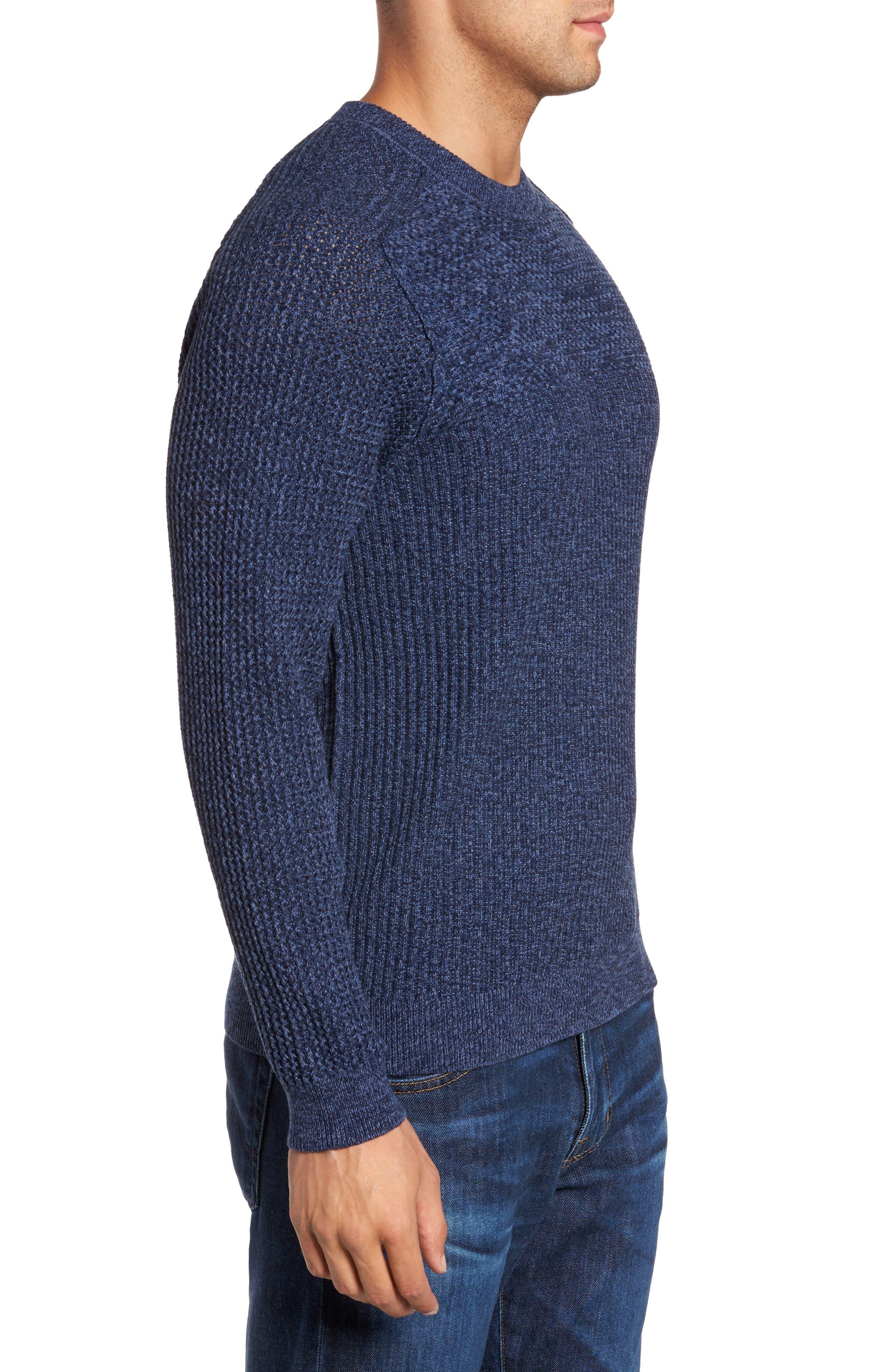 Medina Marl Cotton Sweater,                             Alternate thumbnail 3, color,                             001