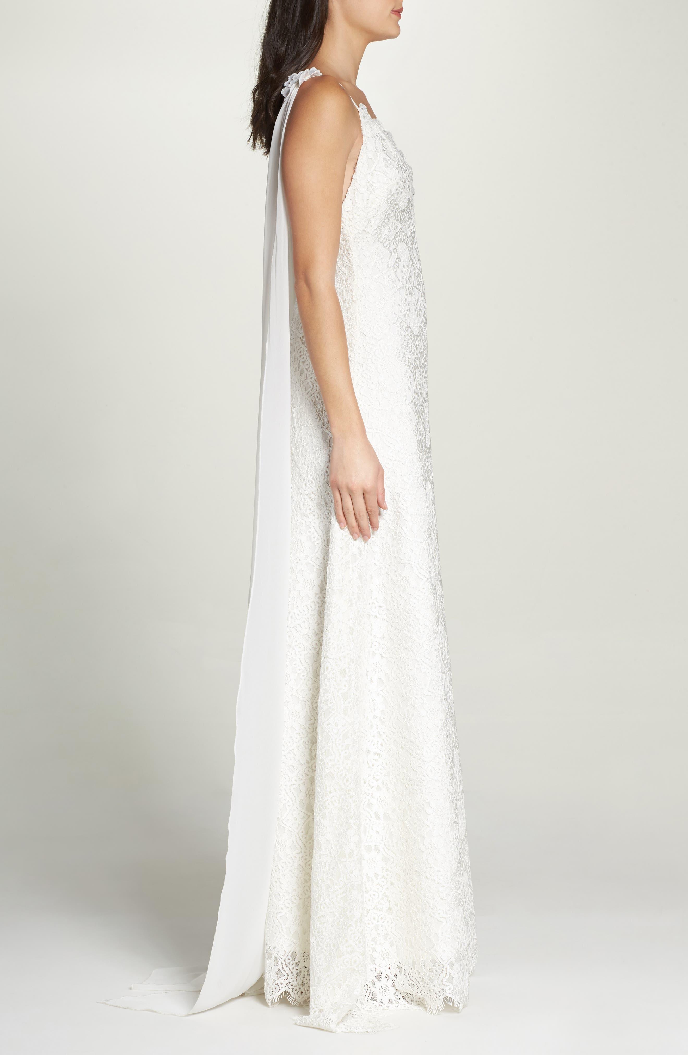 Chiffon Sash Scalloped Lace Gown,                             Alternate thumbnail 3, color,                             900