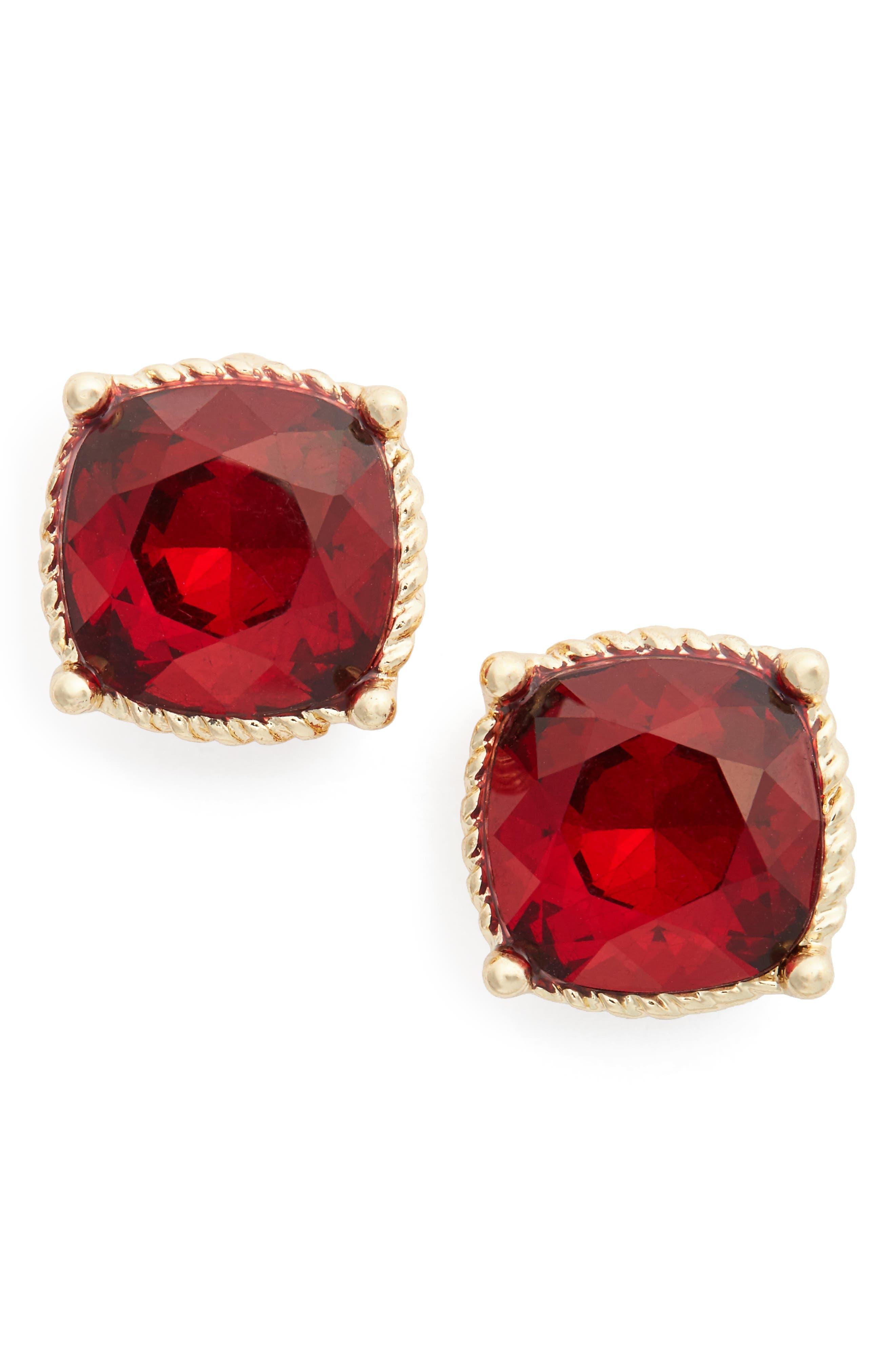 Stone Stud Earrings, Main, color, 610