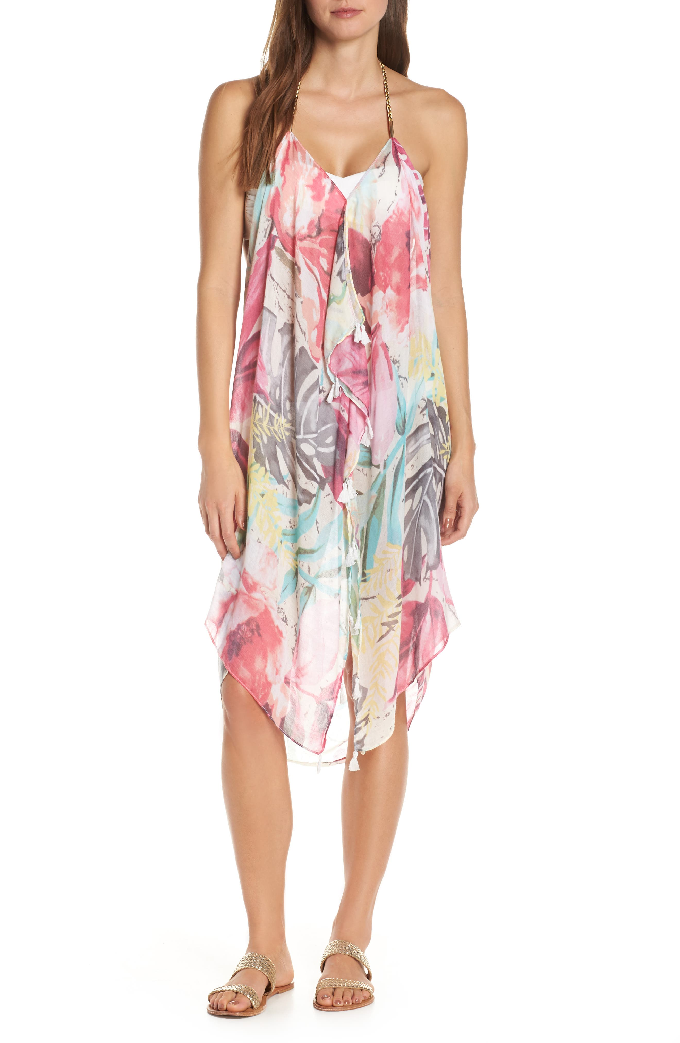 POOL TO PARTY Beach to Street Cover-Up Maxi Dress, Main, color, ALOHA BLOOM