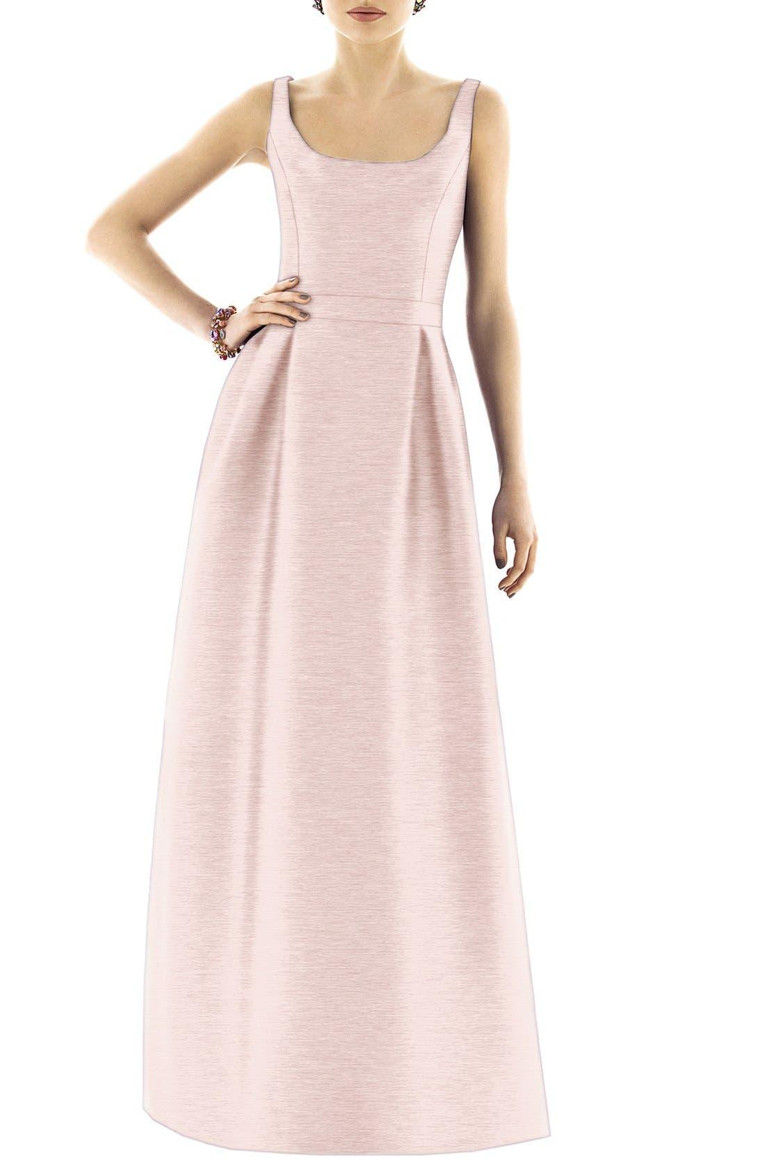 Scoop Neck Dupioni Full Length Dress,                             Alternate thumbnail 15, color,