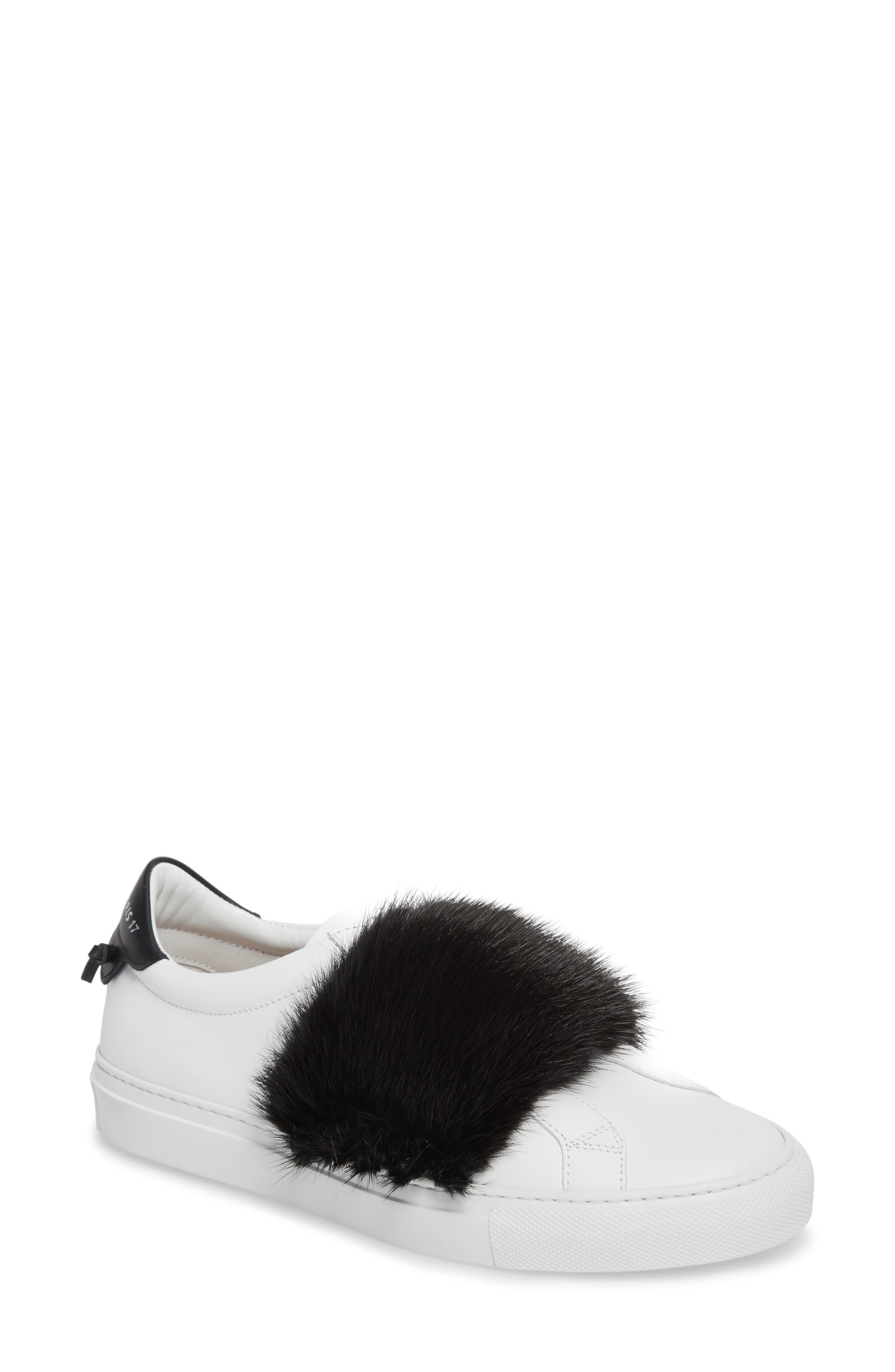 Urban Street Slip-On Sneaker with Genuine Mink Fur Trim,                             Main thumbnail 1, color,