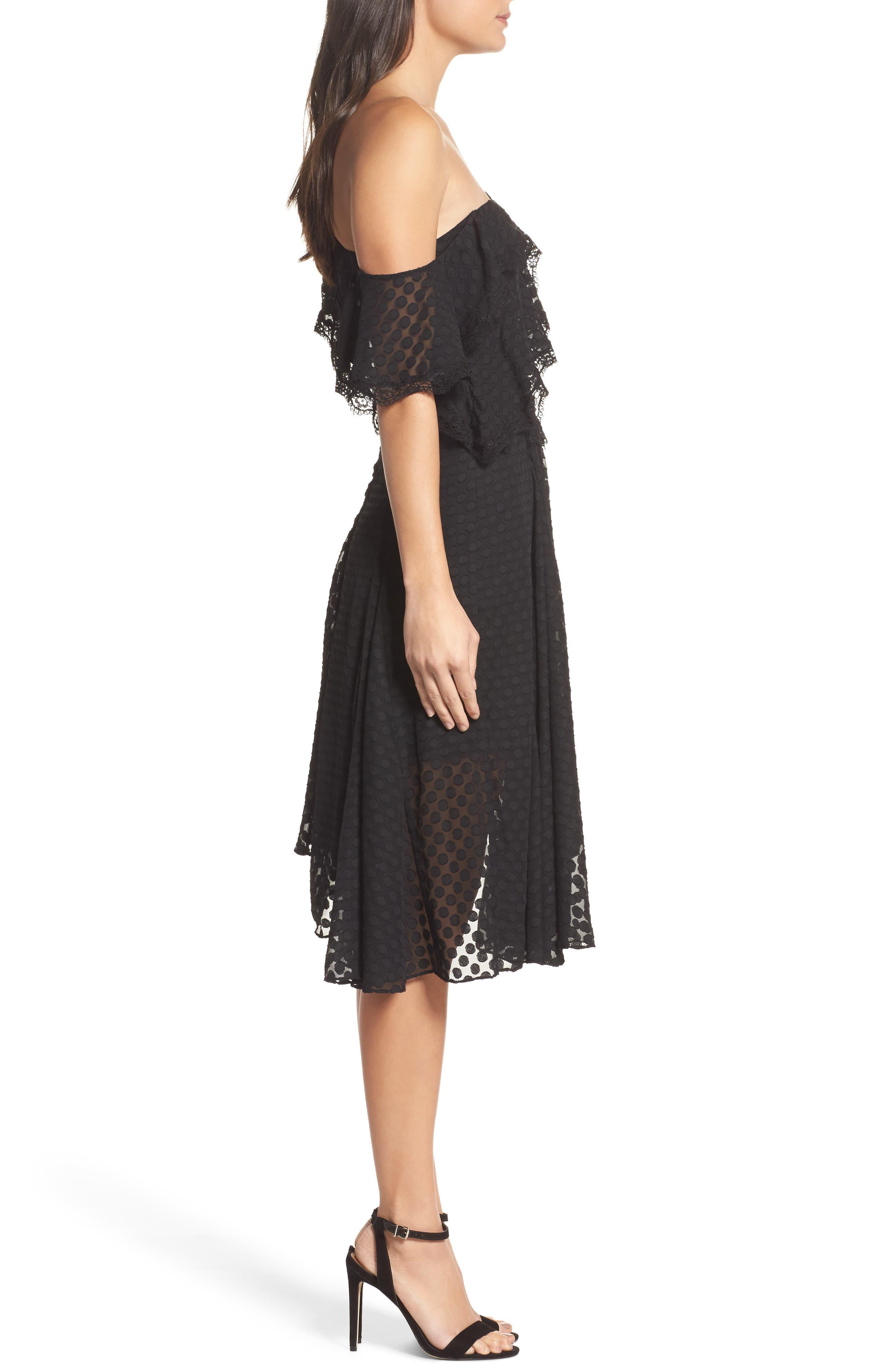 Señorita One-Shoulder Dot Chiffon Dress,                             Alternate thumbnail 3, color,                             001