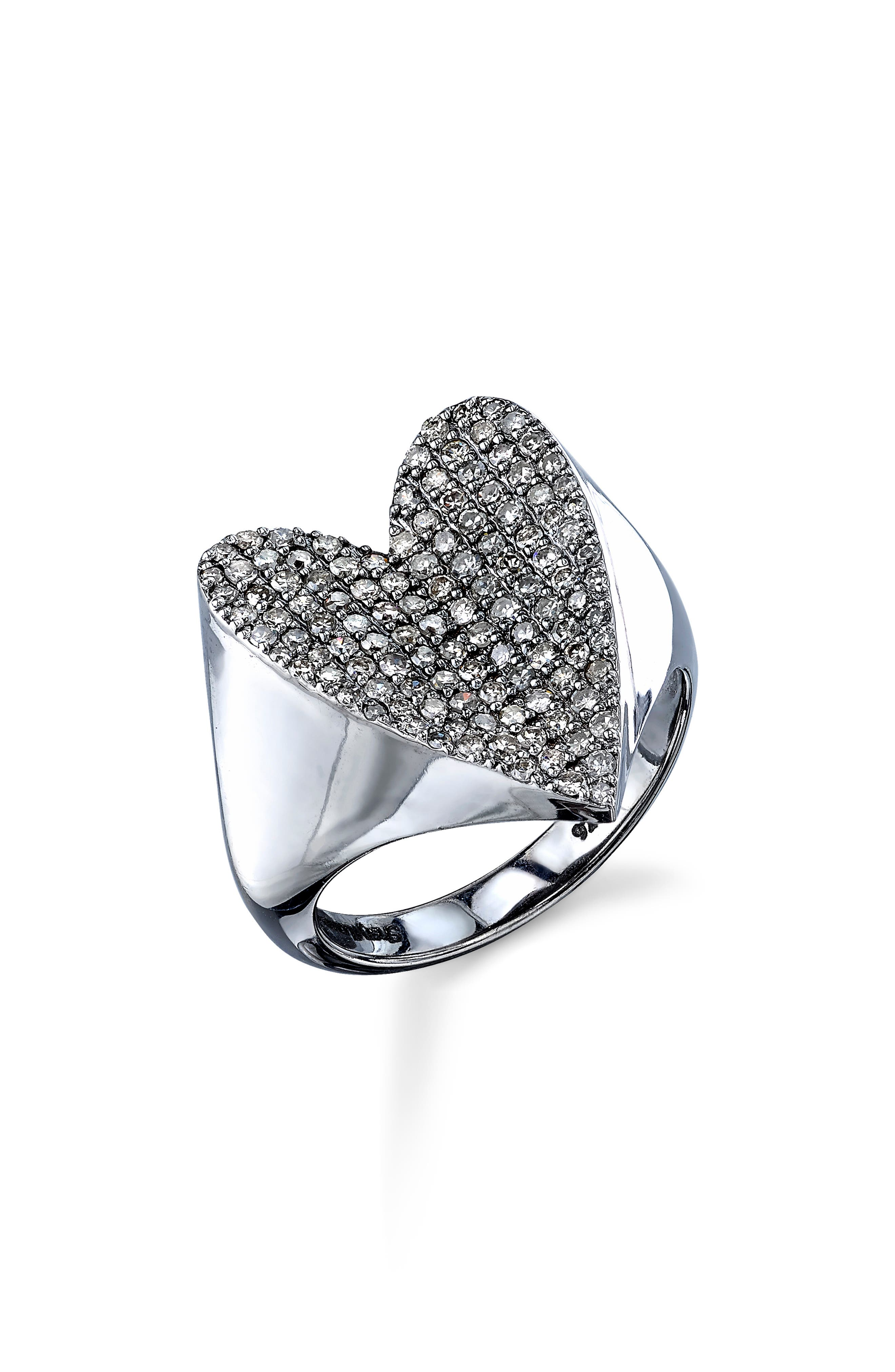 SHERYL LOWE Pave Diamond Heart Ring in Sterling Silver