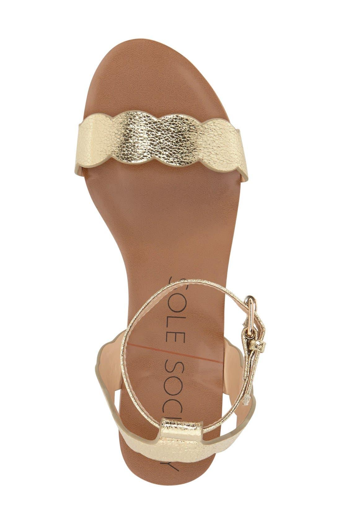'Odette' Scalloped Ankle Strap Flat Sandal,                             Alternate thumbnail 28, color,