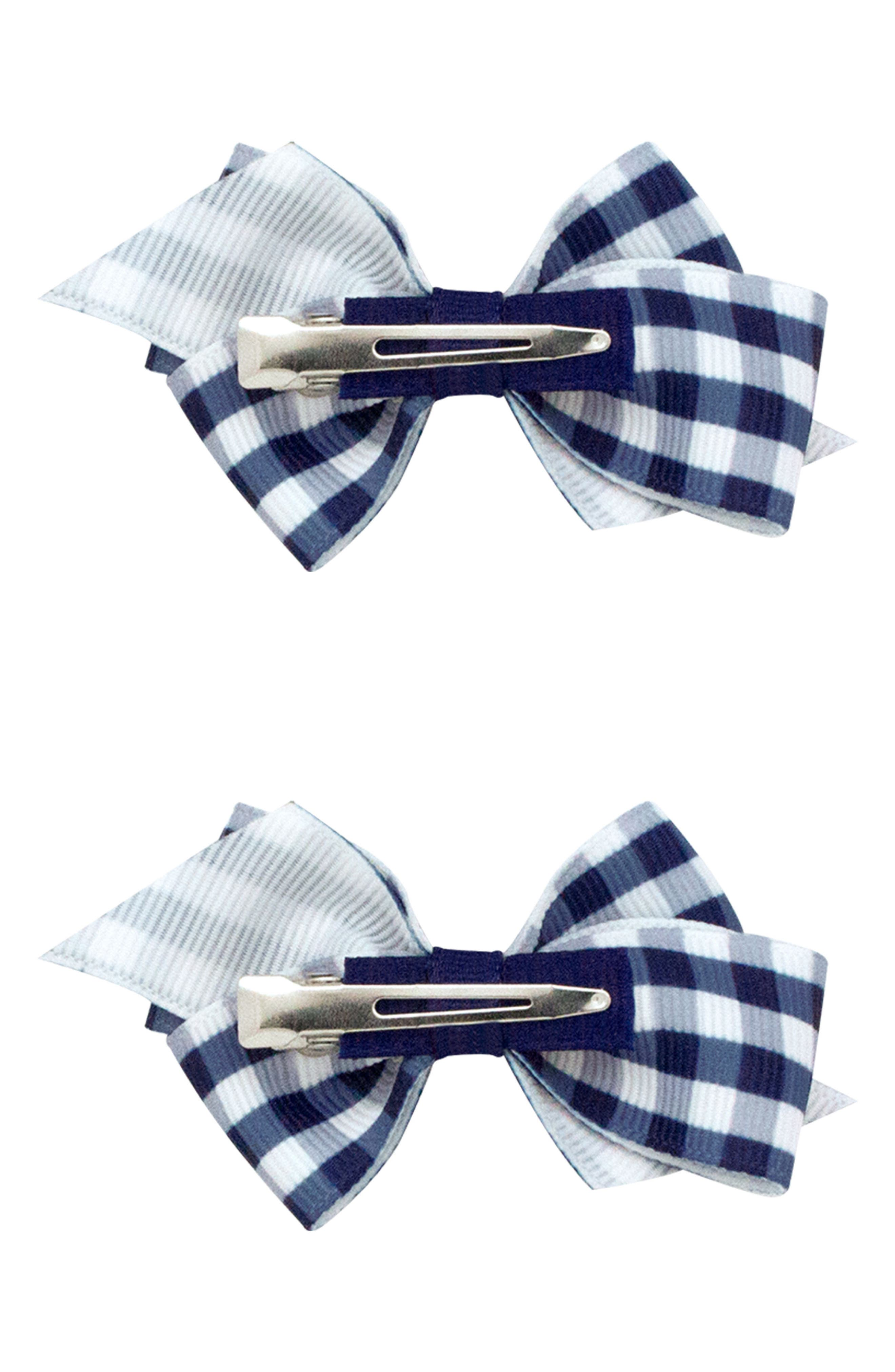 2-Pack Gingham Bow Clips,                             Alternate thumbnail 2, color,                             NAVY