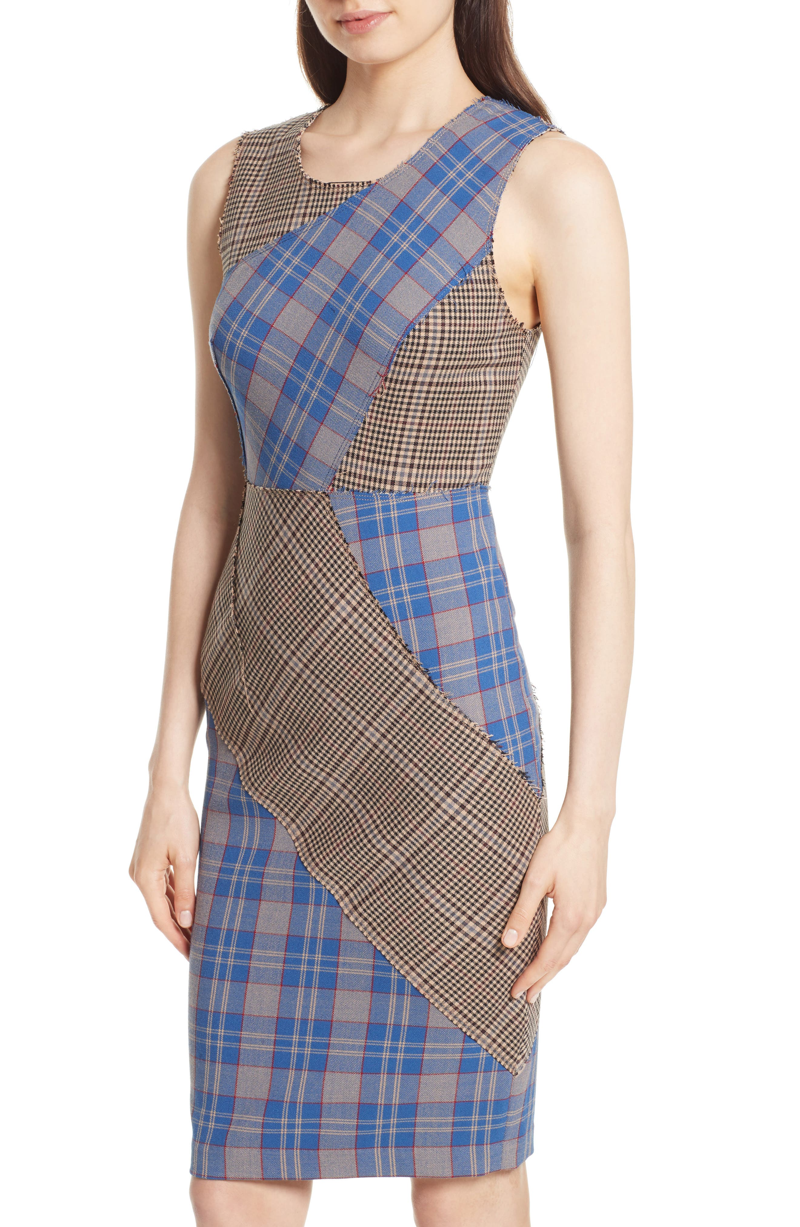 Patchwork Plaid Sheath Dress,                             Alternate thumbnail 4, color,                             459