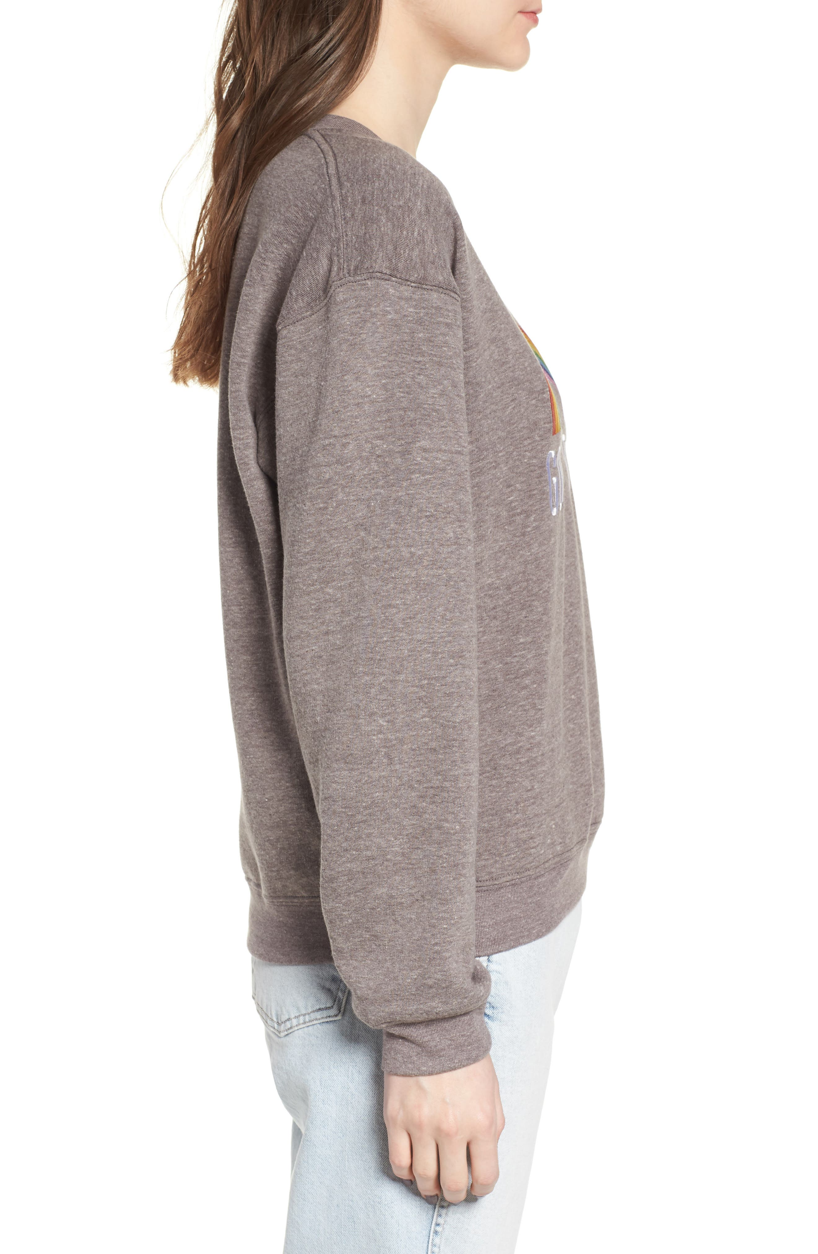 Good Vibes Rainbow Sweatshirt,                             Alternate thumbnail 3, color,                             HEATHER GREY