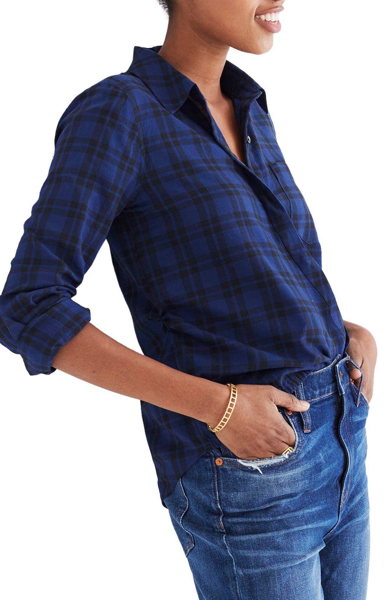 Plaid Faux Wrap Shirt,                             Alternate thumbnail 3, color,                             490