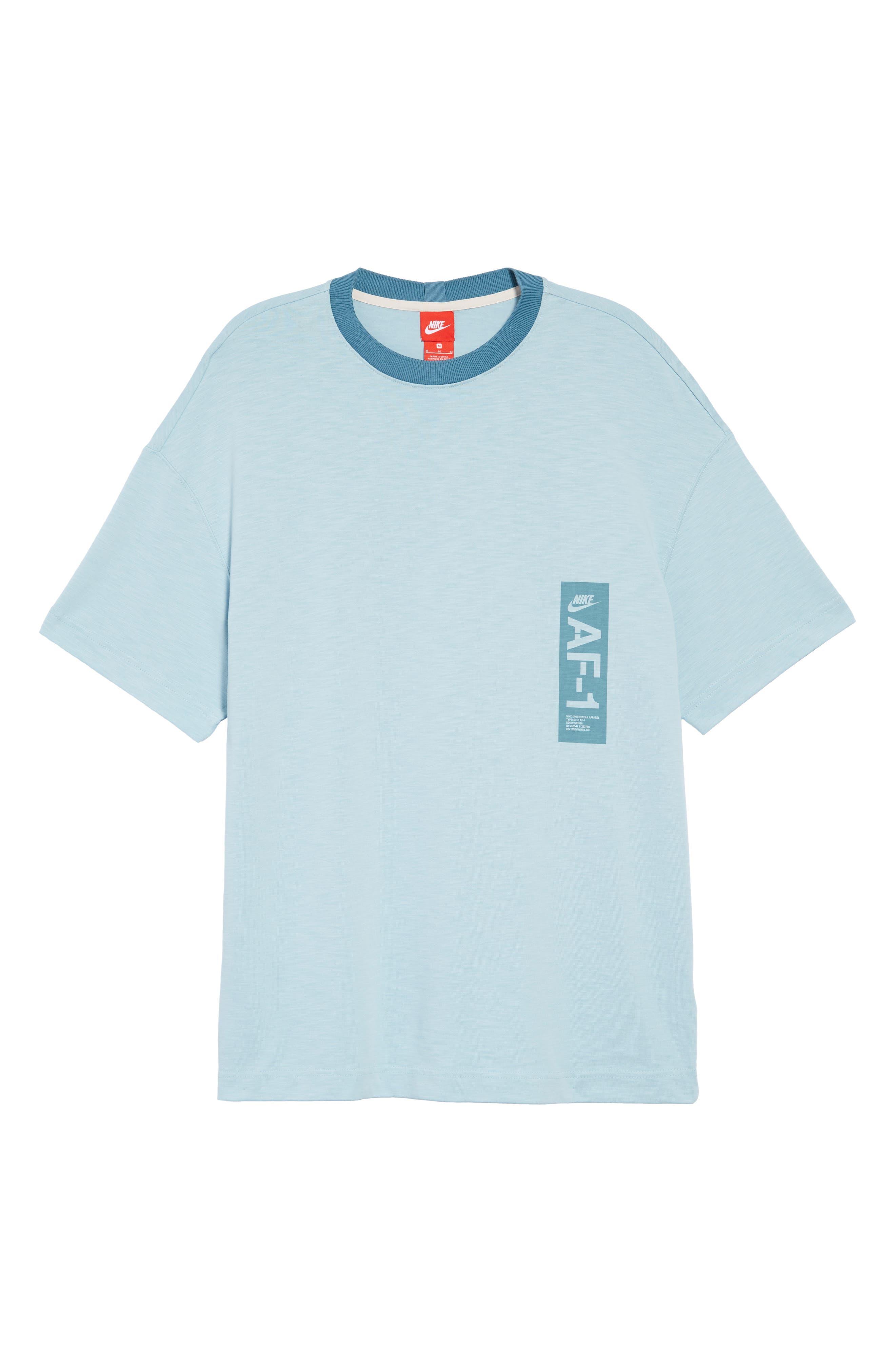 Sportswear AF1 Graphic T-Shirt,                             Alternate thumbnail 6, color,                             OCEAN BLISS/ NOISE AQUA