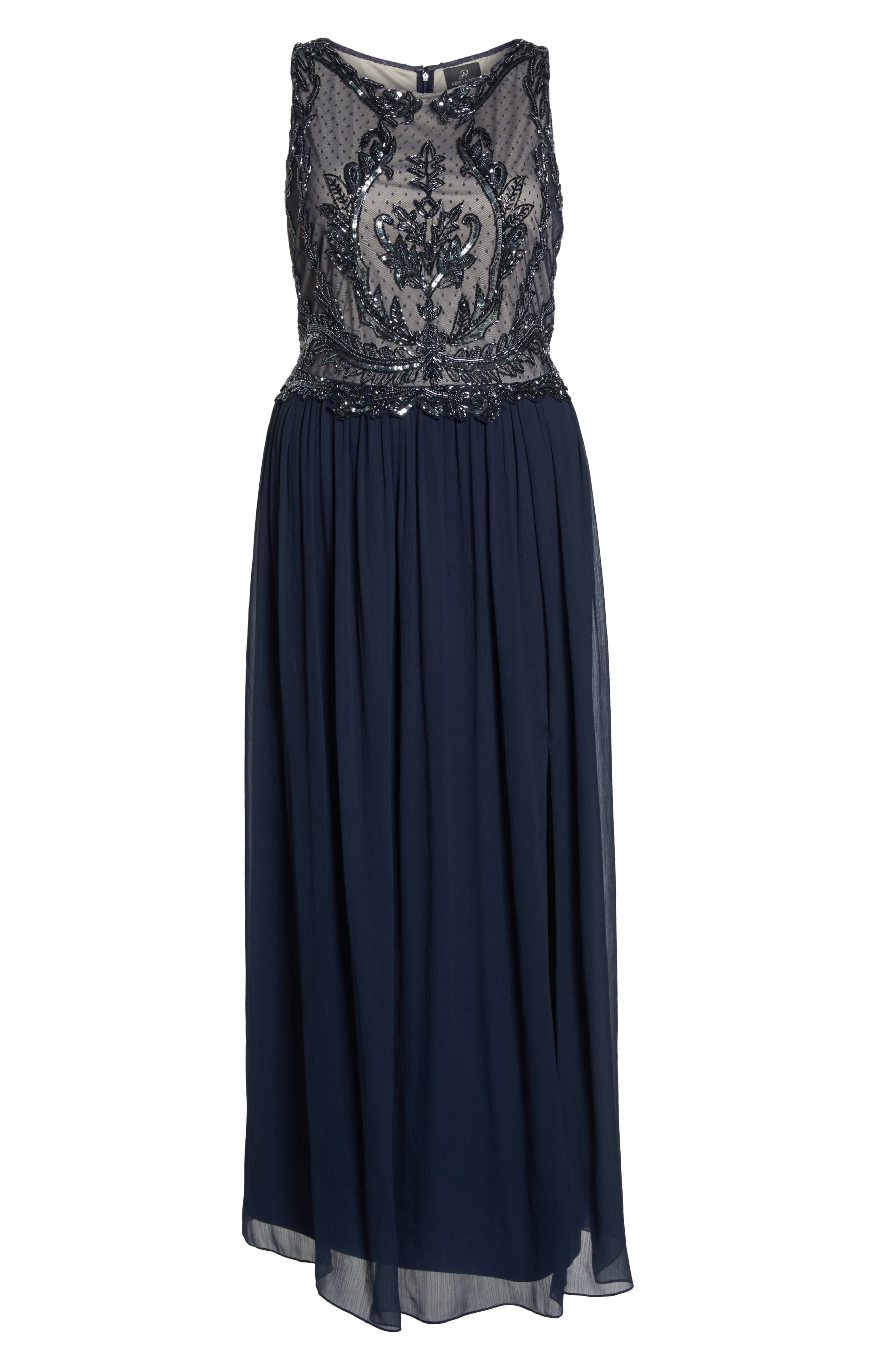 Beaded Bodice Chiffon Gown,                             Alternate thumbnail 7, color,                             412
