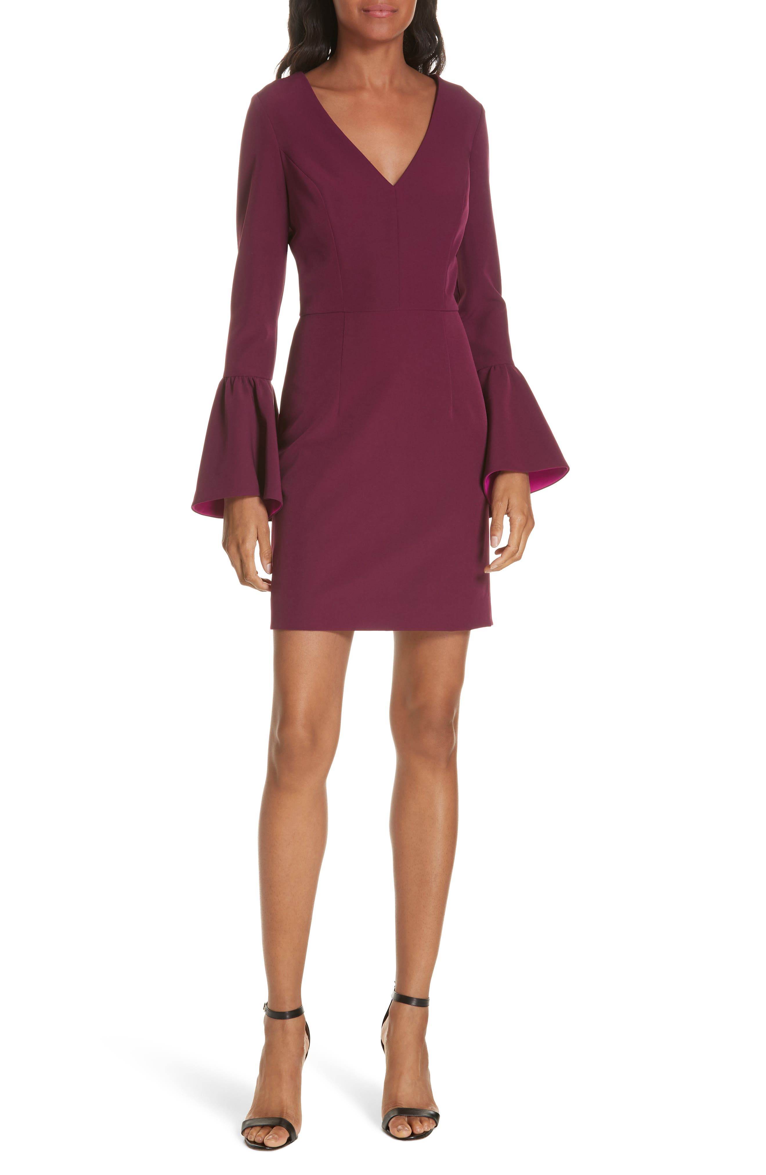 Morgan Italian Cady Bell Sleeve Mini Dress,                         Main,                         color, 500
