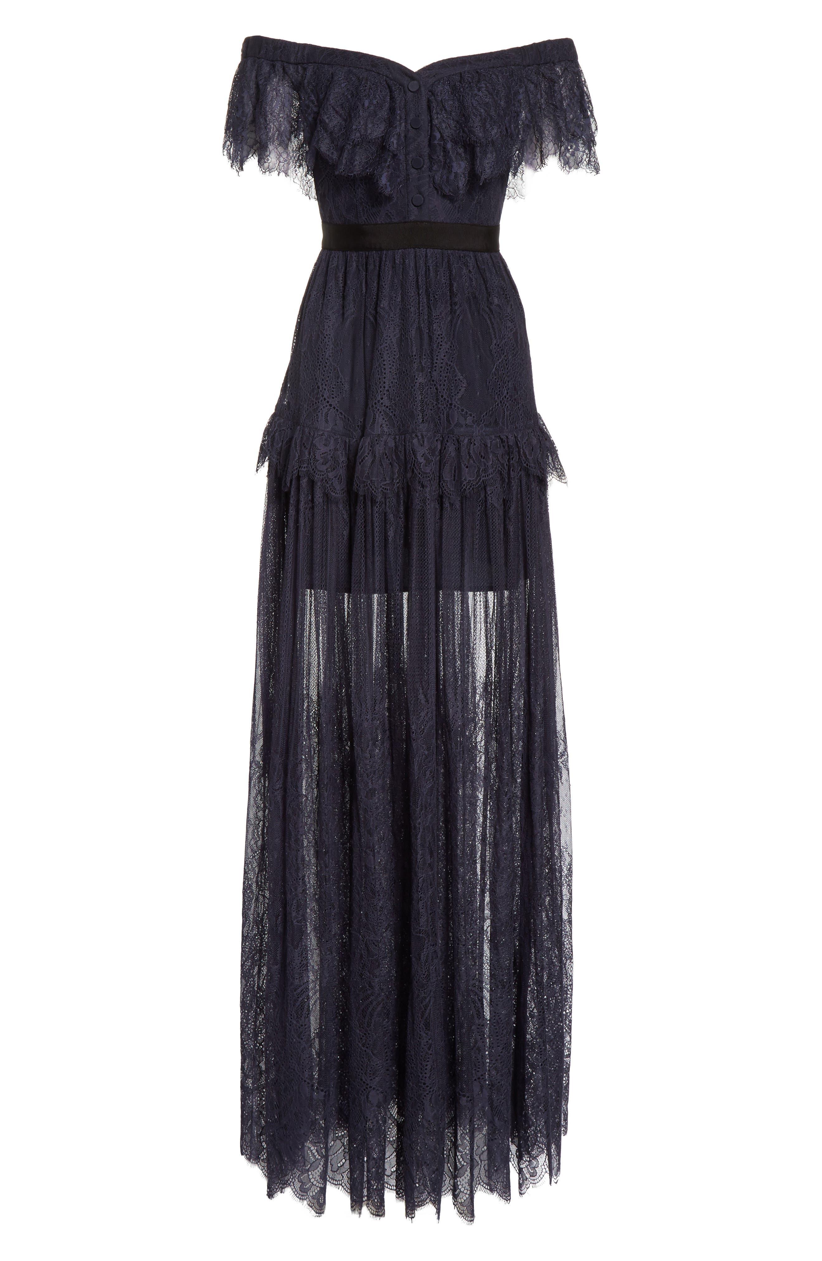 Fine Lace Off the Shoulder Maxi Dress,                             Alternate thumbnail 6, color,                             410
