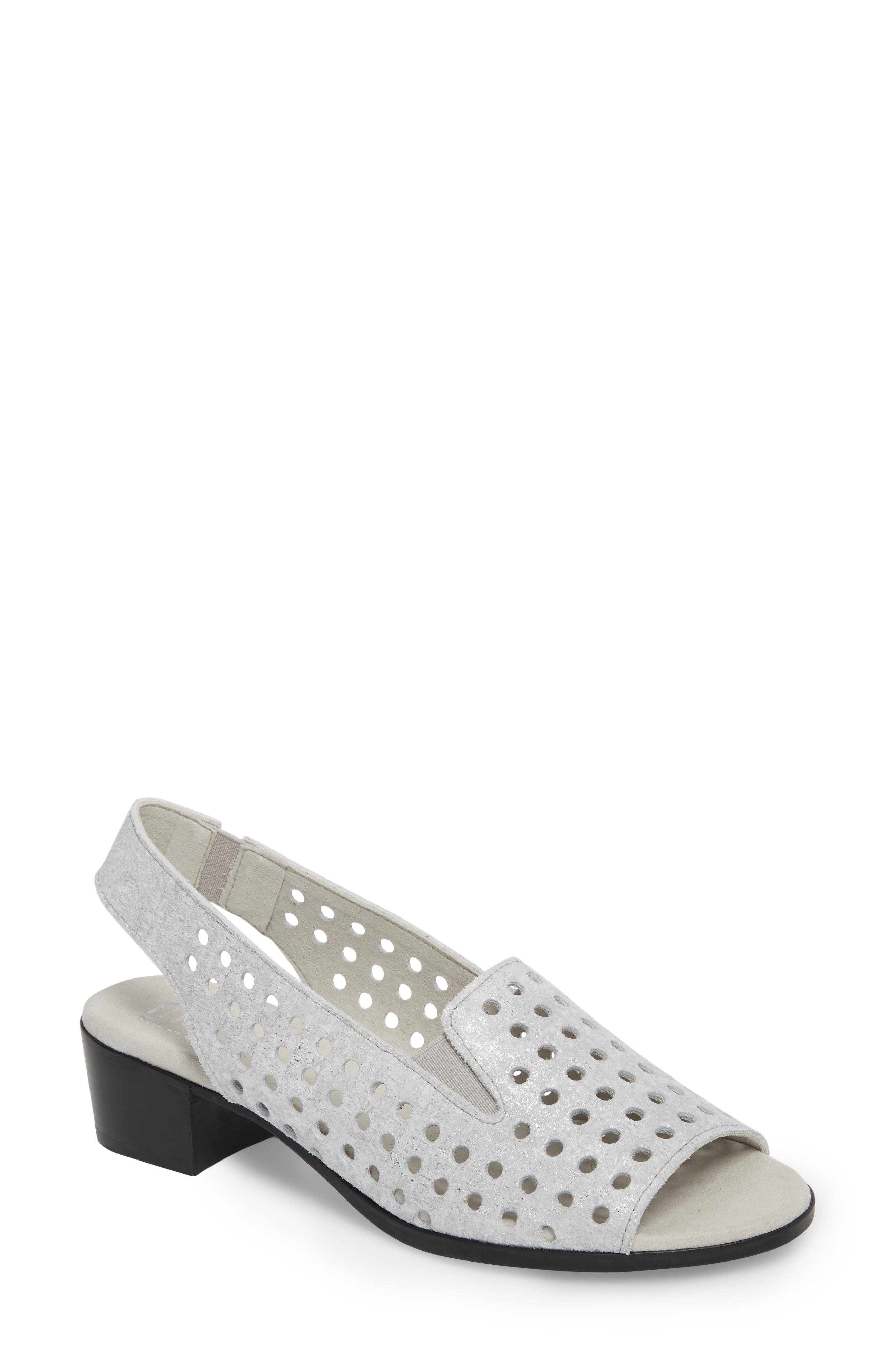 Mickee Slingback Sandal,                         Main,                         color, SILVER METALLIC SUEDE