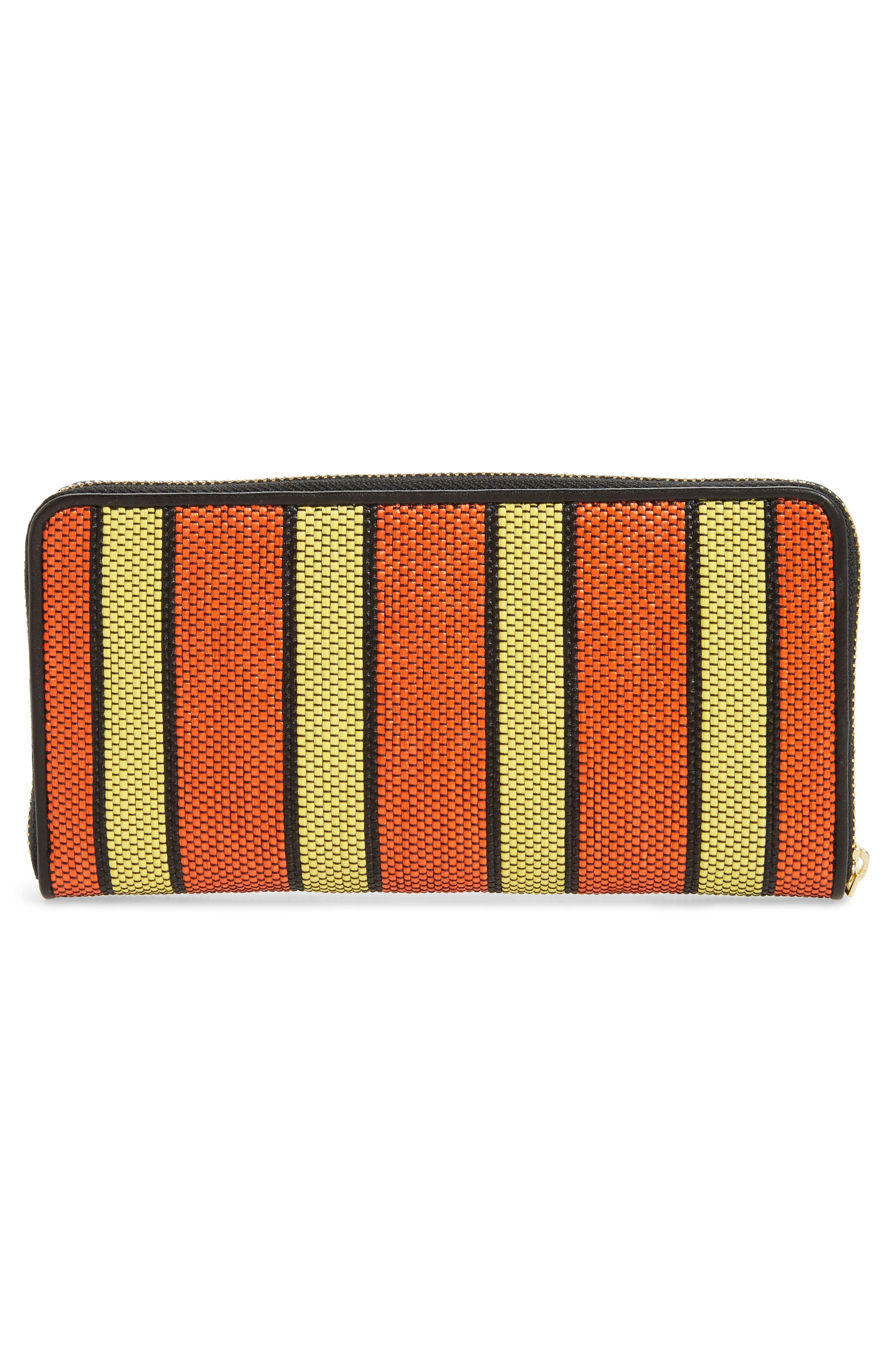 Raffia Continental Zip Wallet,                             Alternate thumbnail 3, color,                             800
