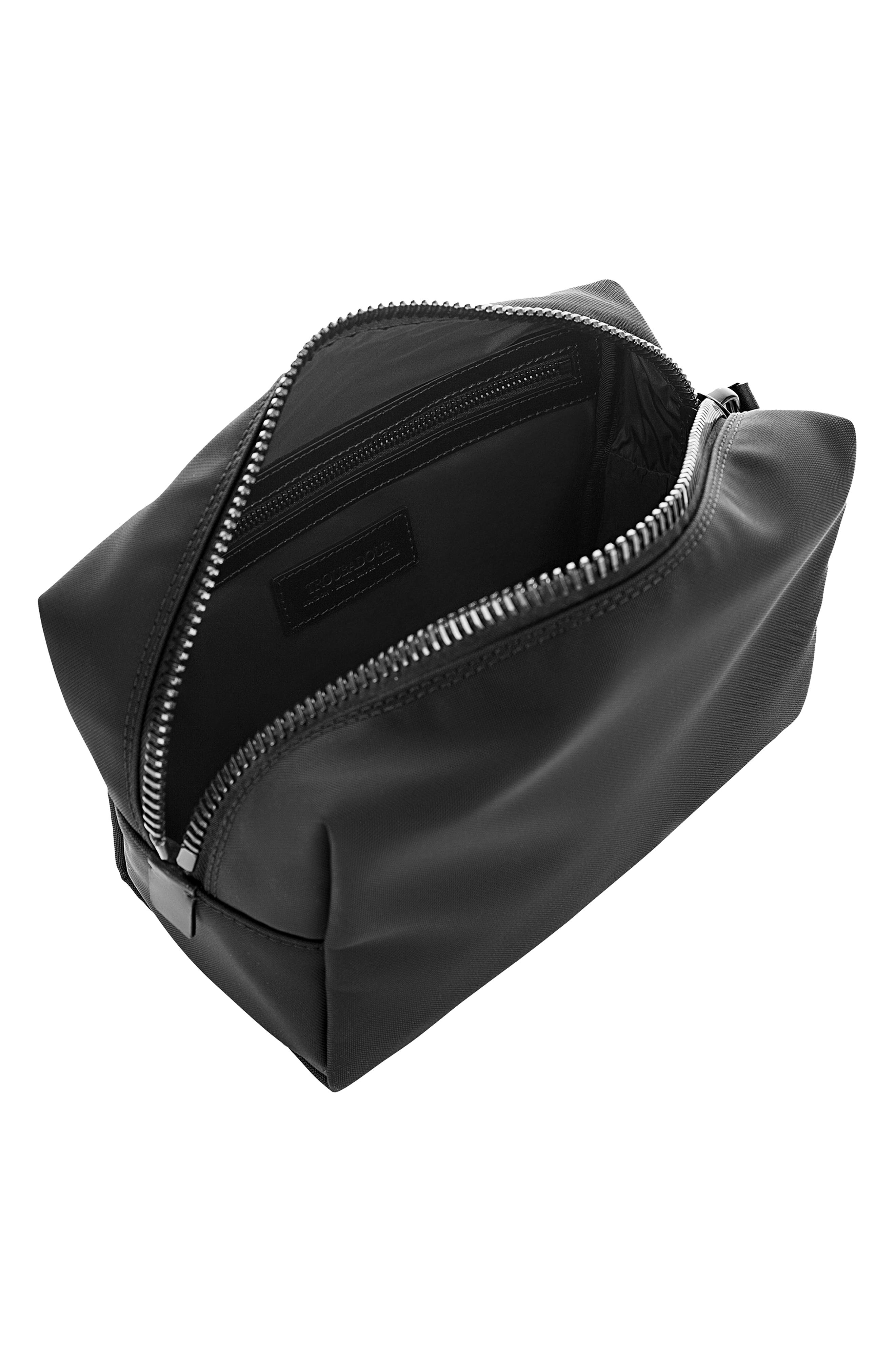 Nylon Dopp Kit,                             Alternate thumbnail 4, color,                             BLACK NYLON/ BLACK LEATHER