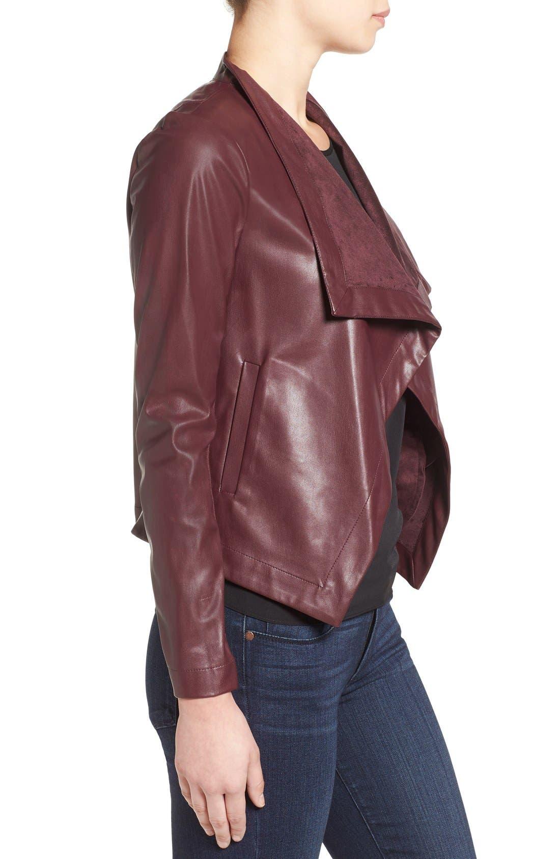 'Peppin' Drape Front Faux Leather Jacket,                             Alternate thumbnail 26, color,