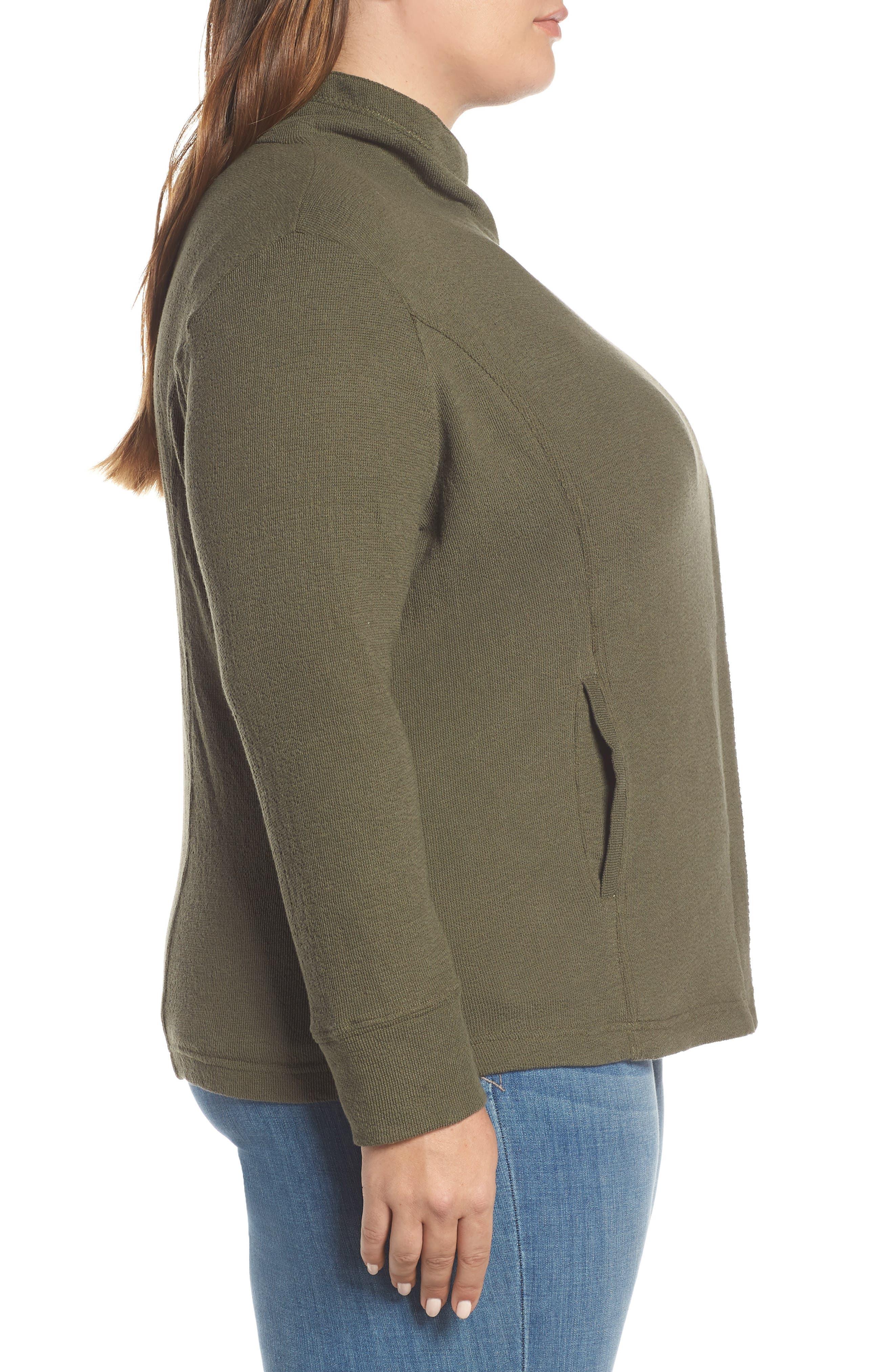 Knit Moto Jacket,                             Alternate thumbnail 3, color,                             OLIVE SARMA