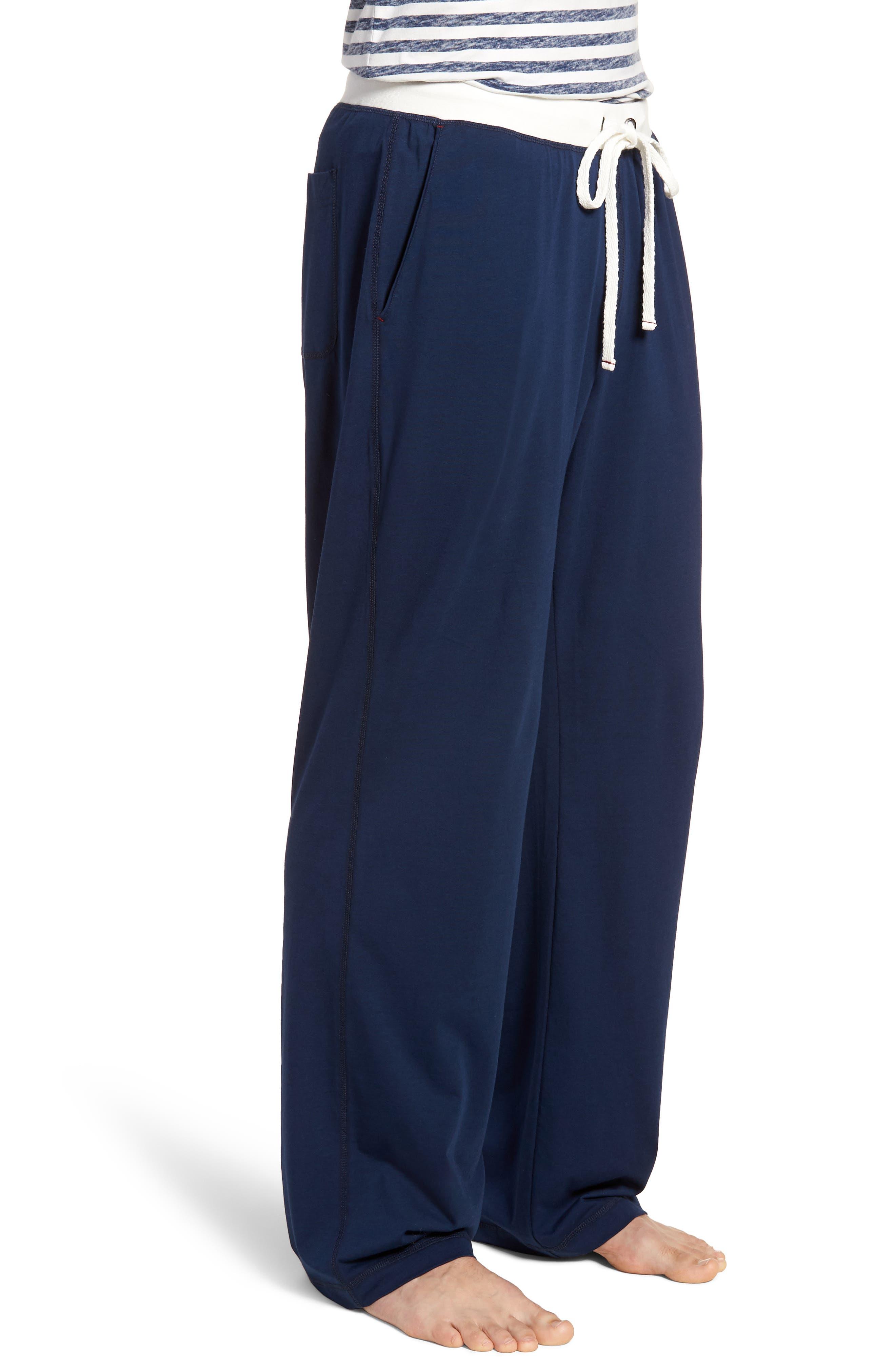 Stretch Cotton & Modal Blend Lounge Pants,                             Alternate thumbnail 3, color,                             NAVY