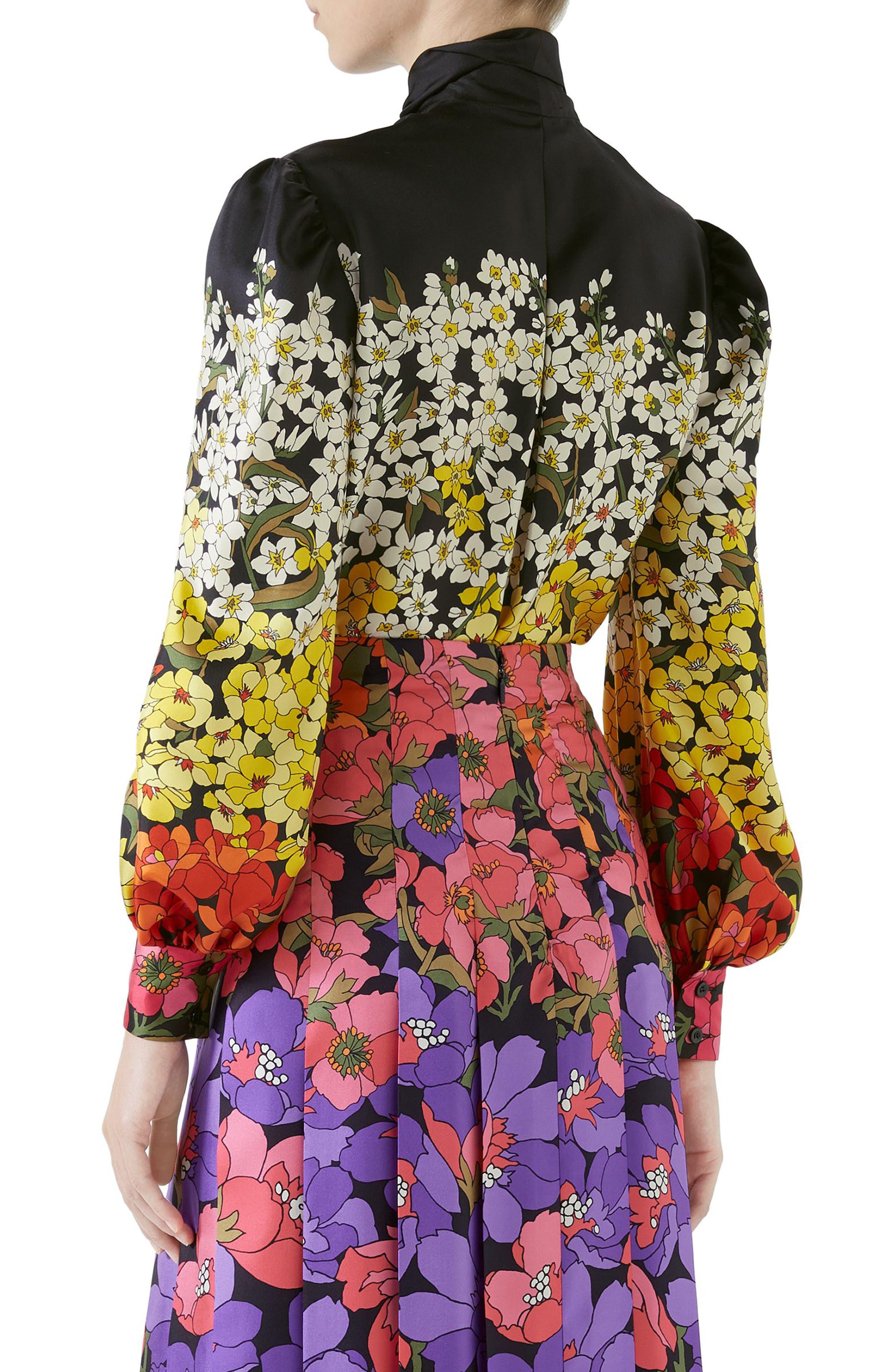 Dégradé Floral Print Silk Tie Neck Blouse,                             Alternate thumbnail 2, color,                             BLACK/ PURPLE PRINT