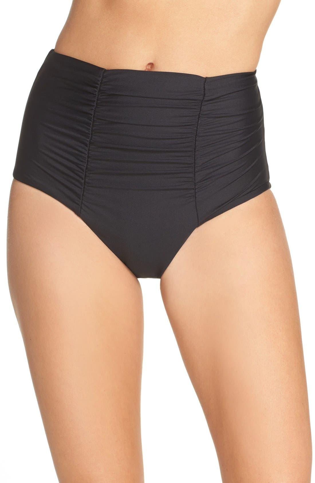 Color Code High Waist Bikini Bottoms,                             Main thumbnail 1, color,                             BLACK