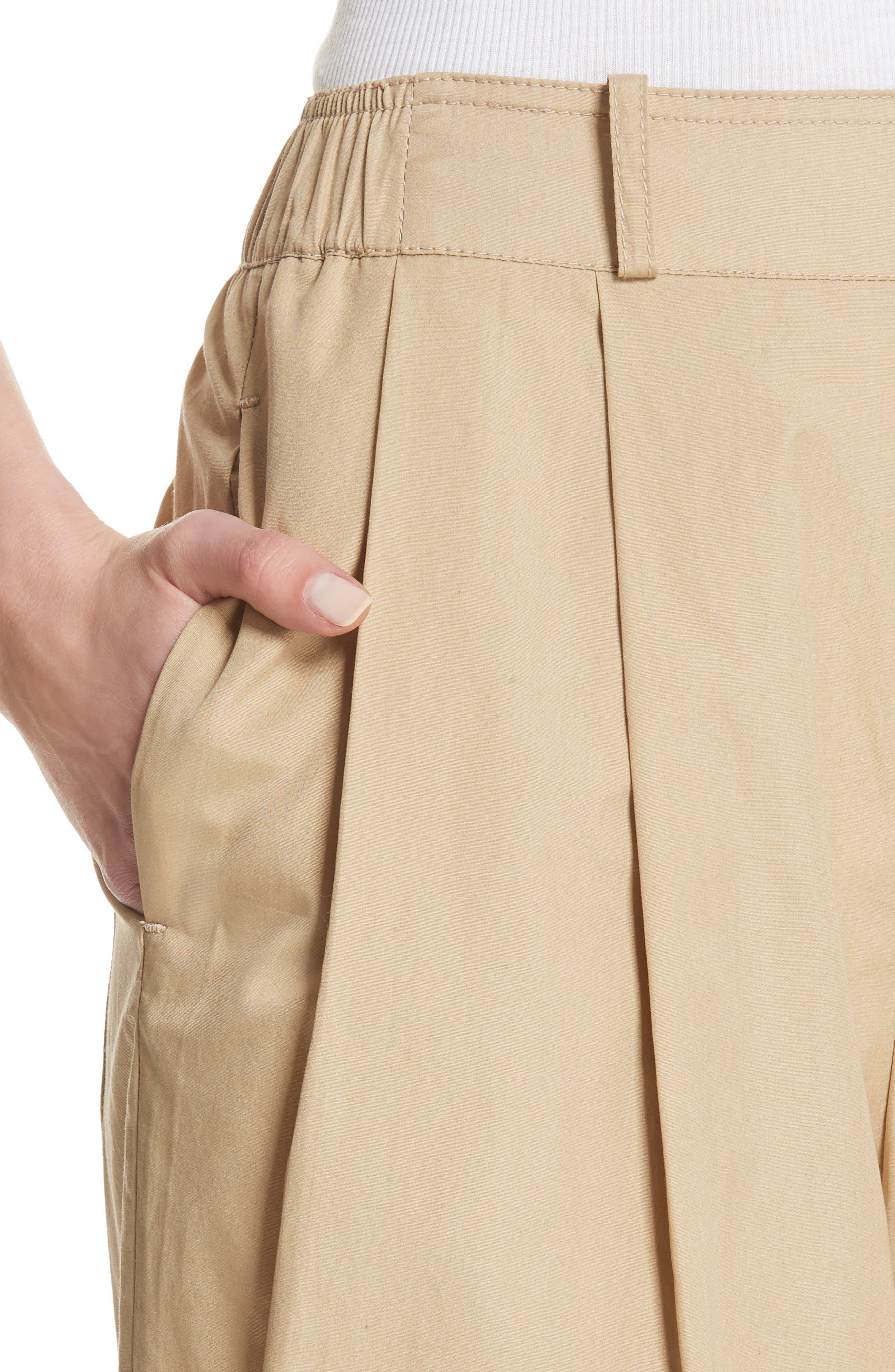 Wide Leg Polished Cotton Pants,                             Alternate thumbnail 4, color,                             KHAKI