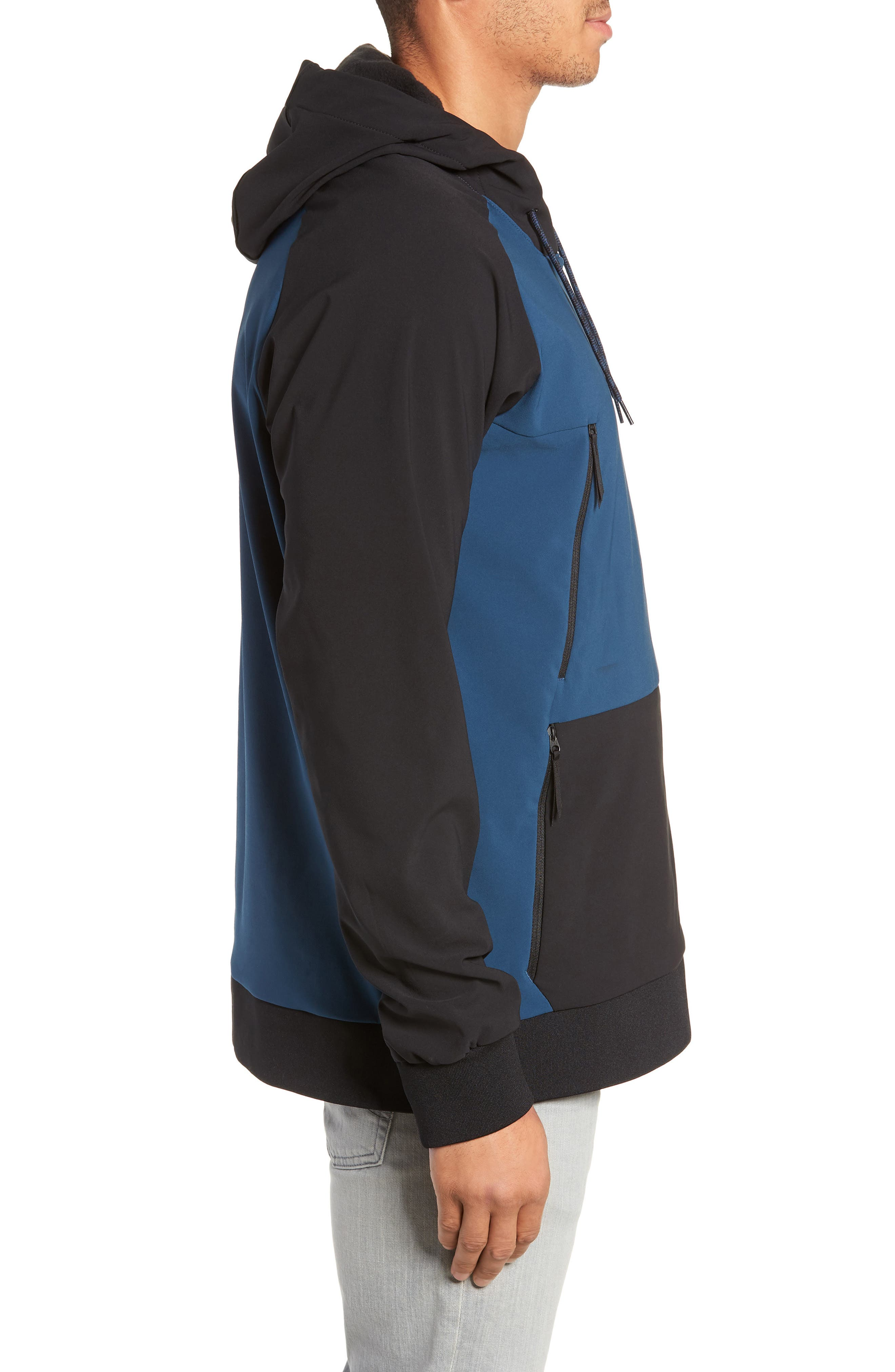Tekno Pullover Hoodie,                             Alternate thumbnail 3, color,                             BLUE WING TEAL/ TNF BLACK