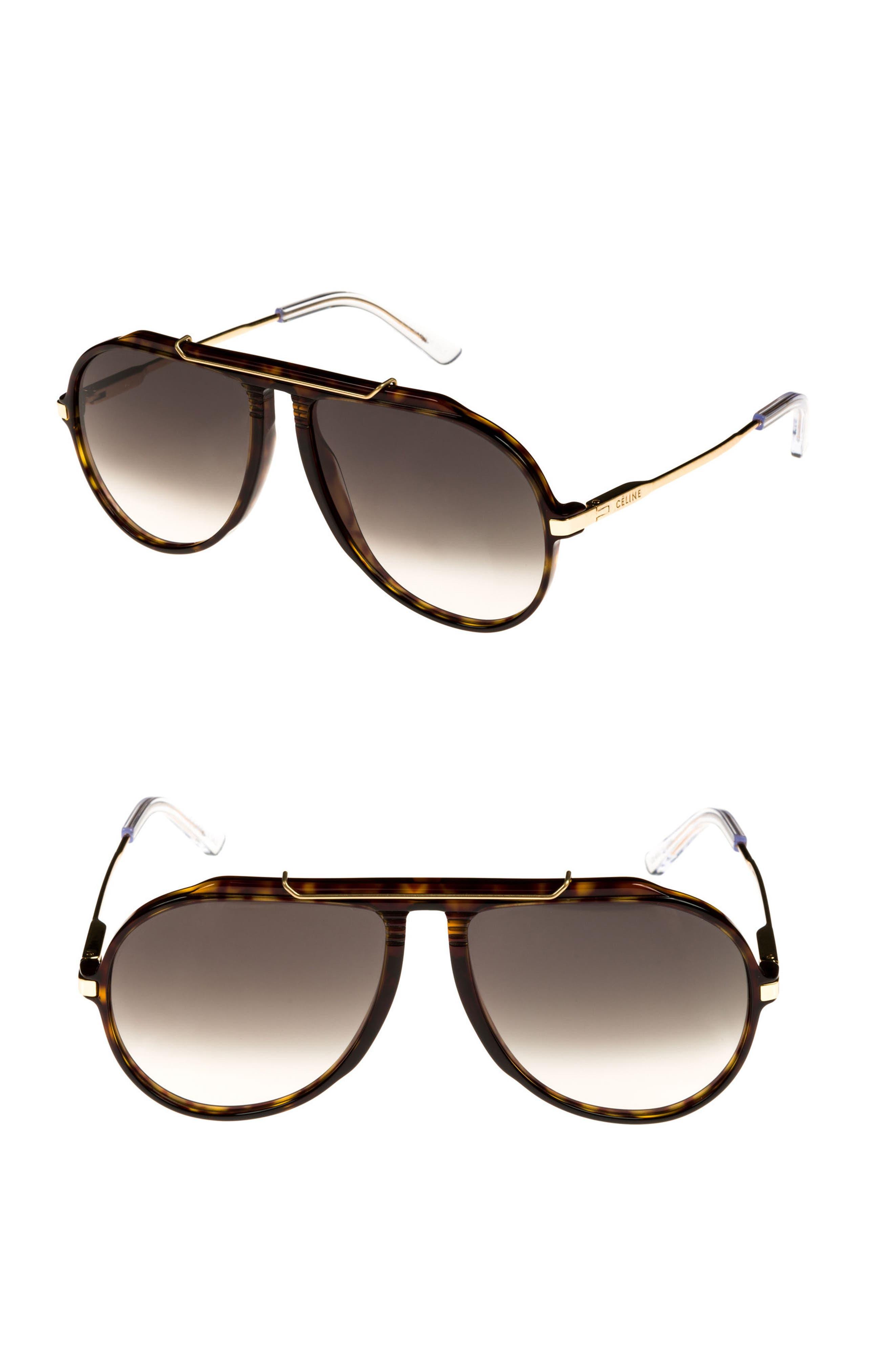 60mm Gradient Aviator Sunglasses,                         Main,                         color, DARK HAVANA/ GOLD/ GREEN